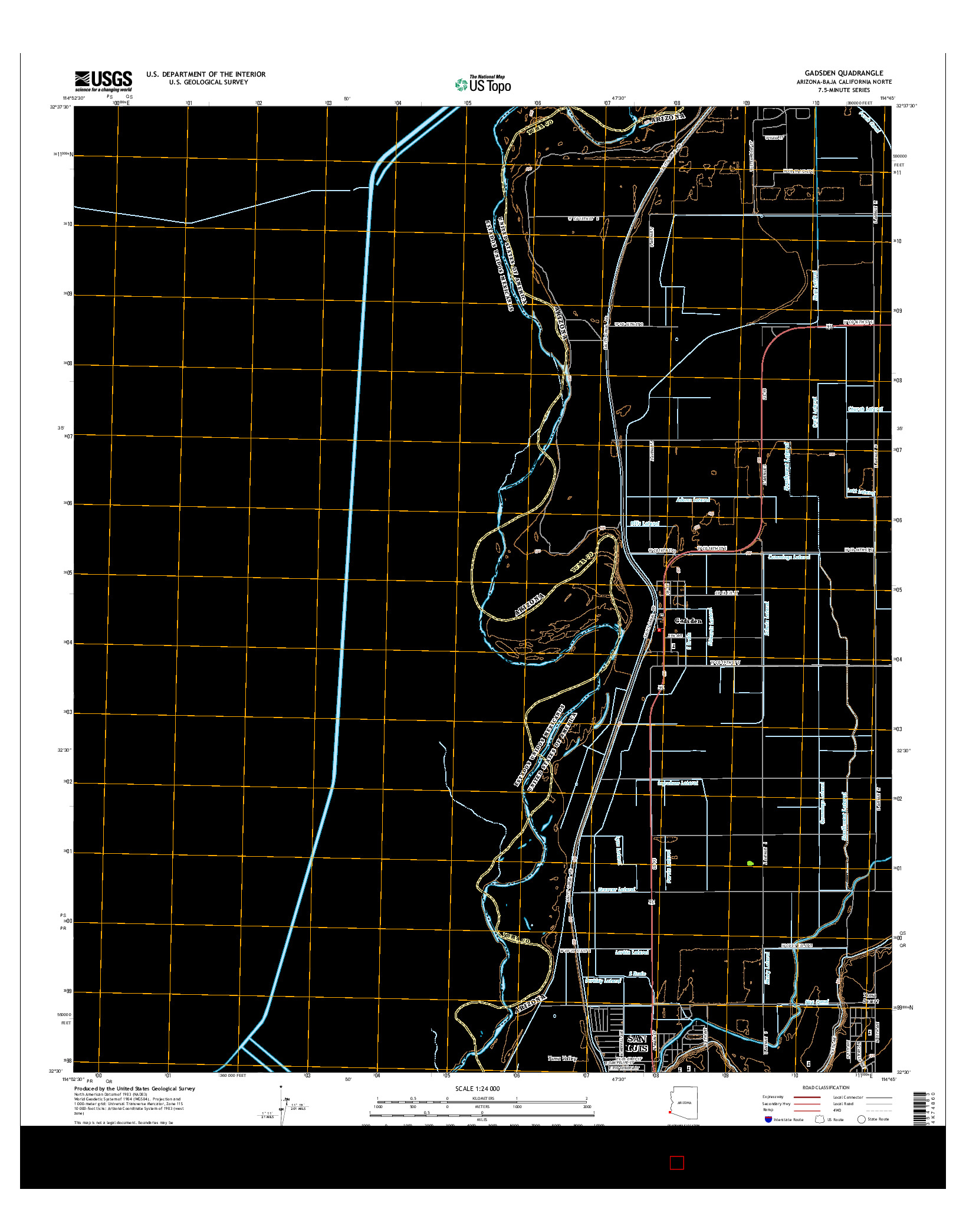 USGS US TOPO 7.5-MINUTE MAP FOR GADSDEN, AZ-BCN 2014
