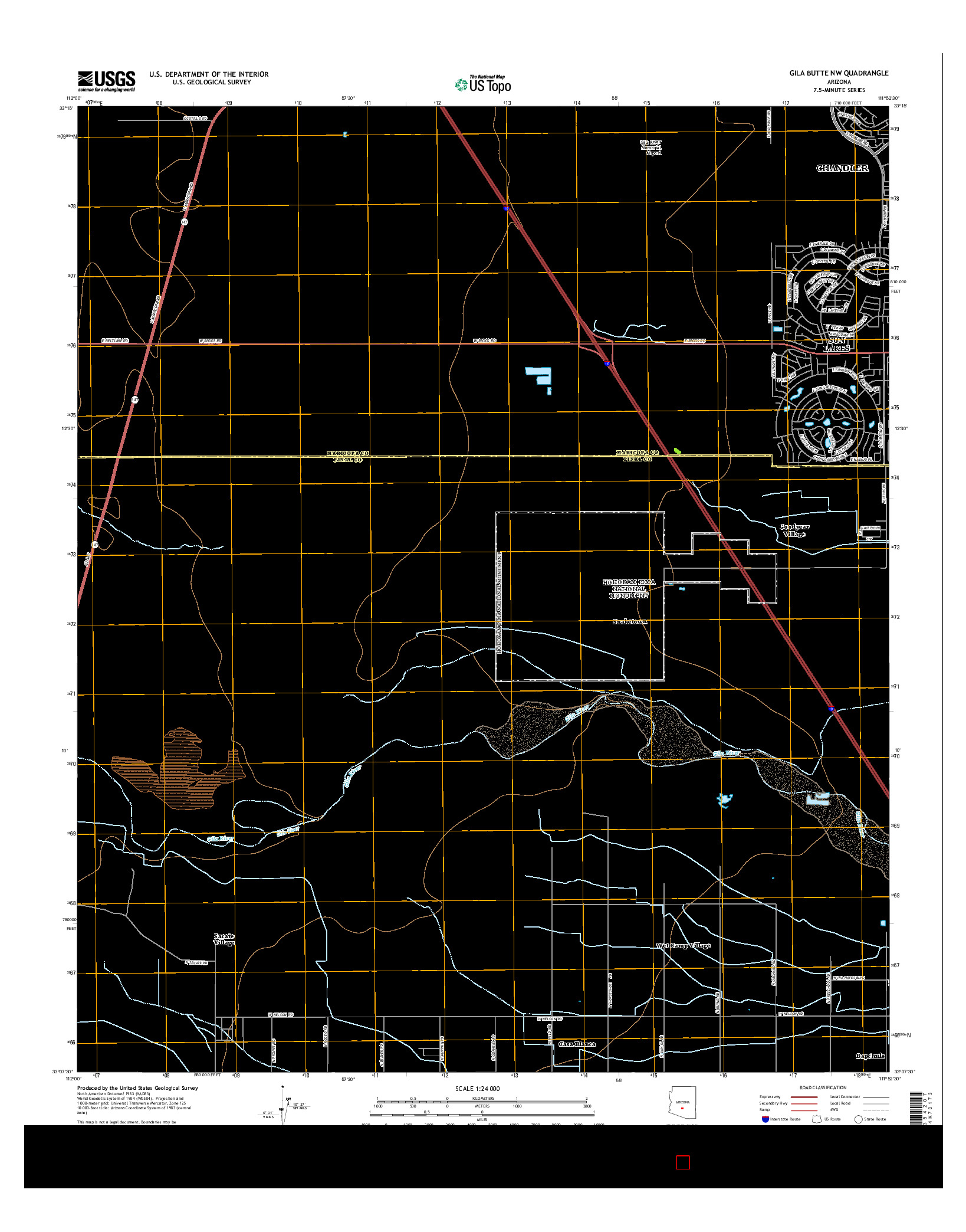 USGS US TOPO 7.5-MINUTE MAP FOR GILA BUTTE NW, AZ 2014