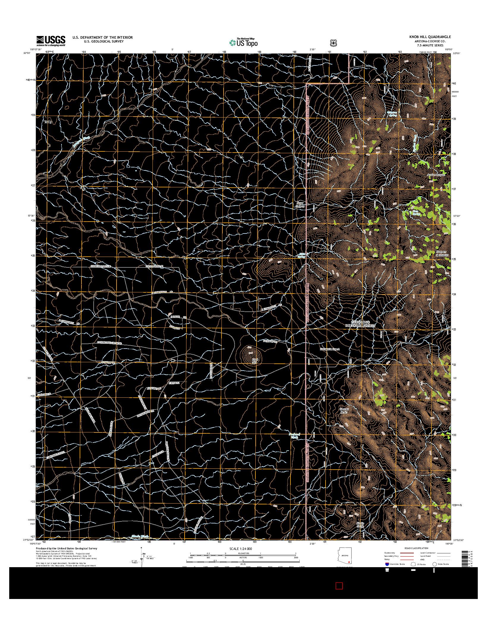 USGS US TOPO 7.5-MINUTE MAP FOR KNOB HILL, AZ 2014