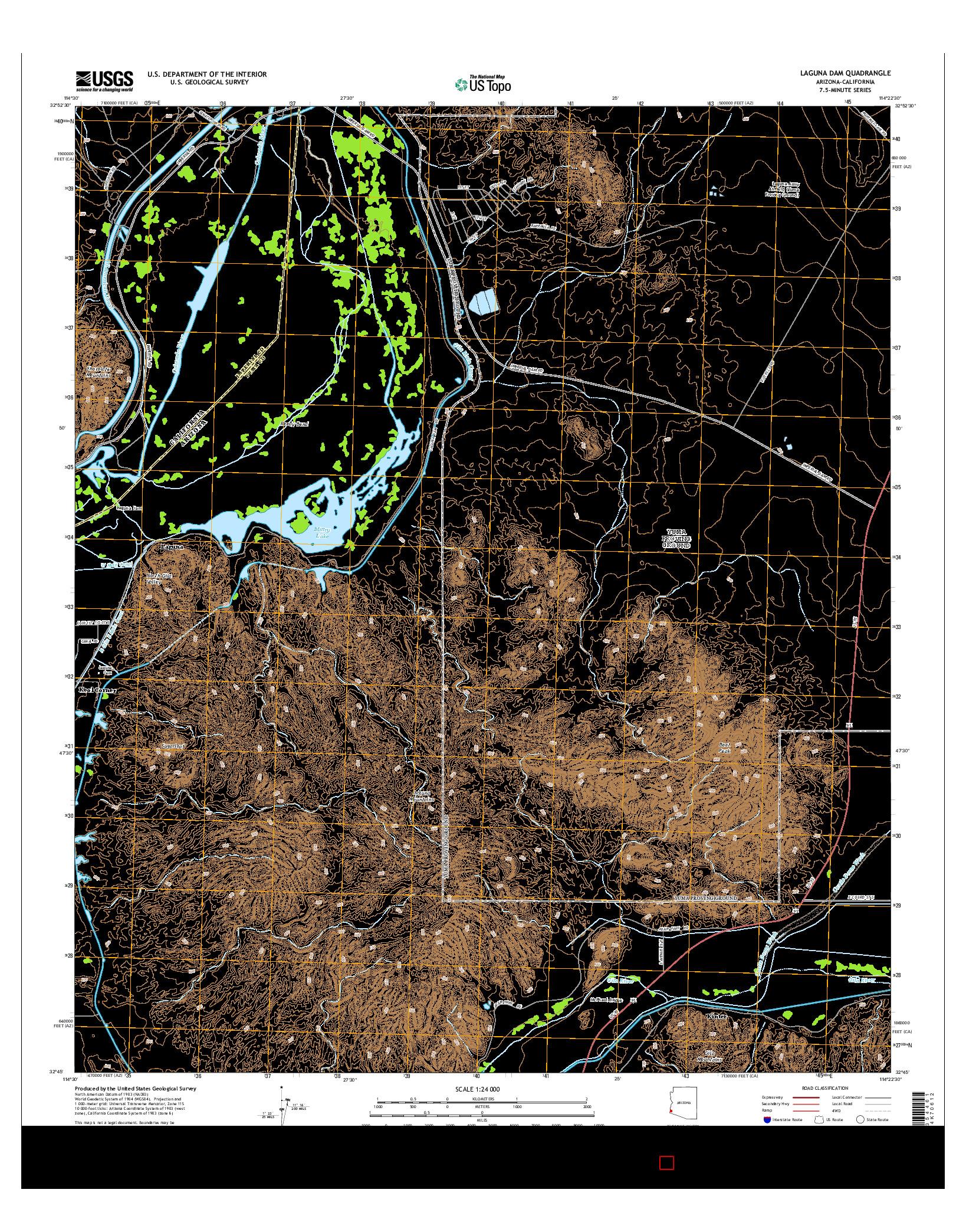 USGS US TOPO 7.5-MINUTE MAP FOR LAGUNA DAM, AZ-CA 2014