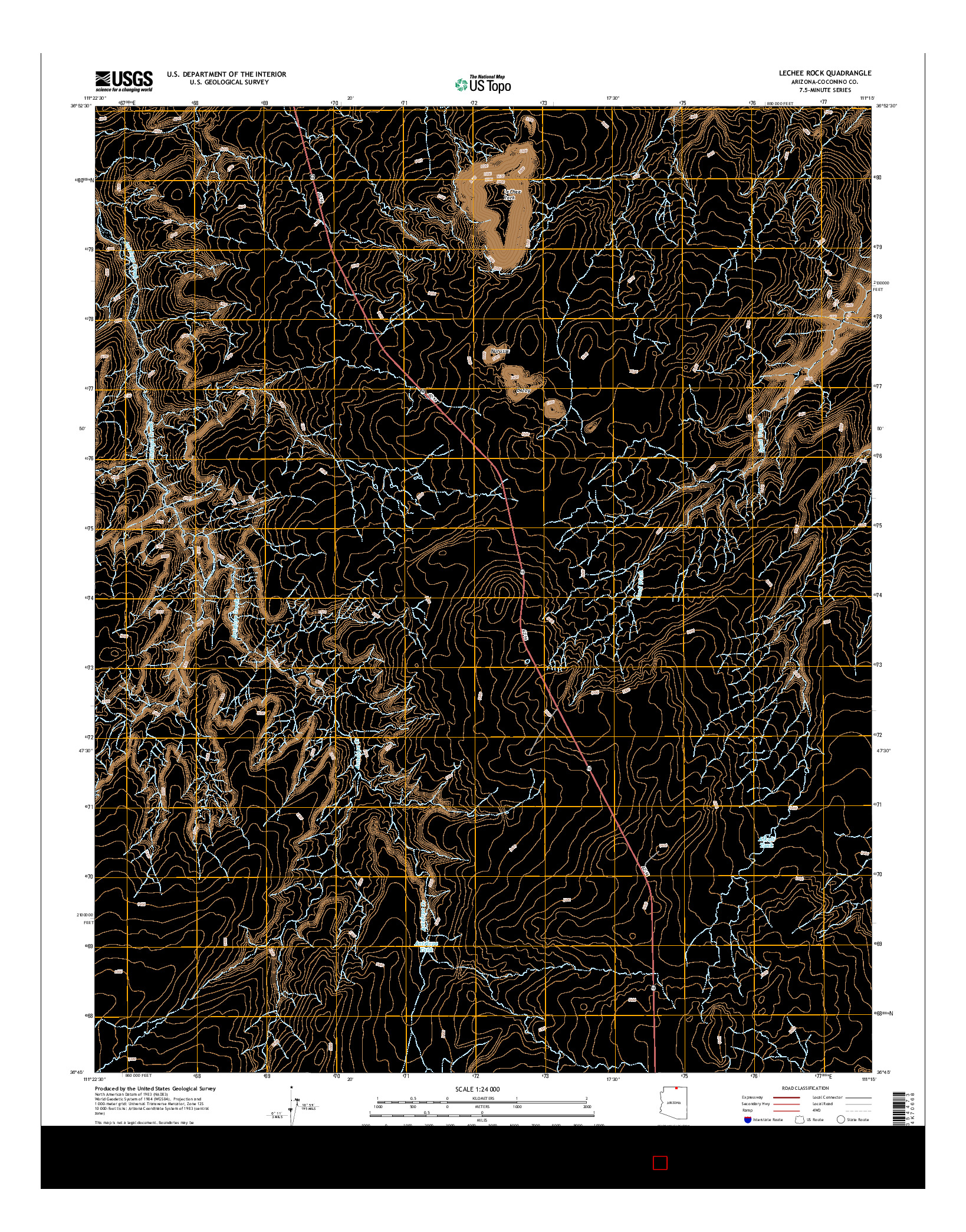 USGS US TOPO 7.5-MINUTE MAP FOR LECHEE ROCK, AZ 2014