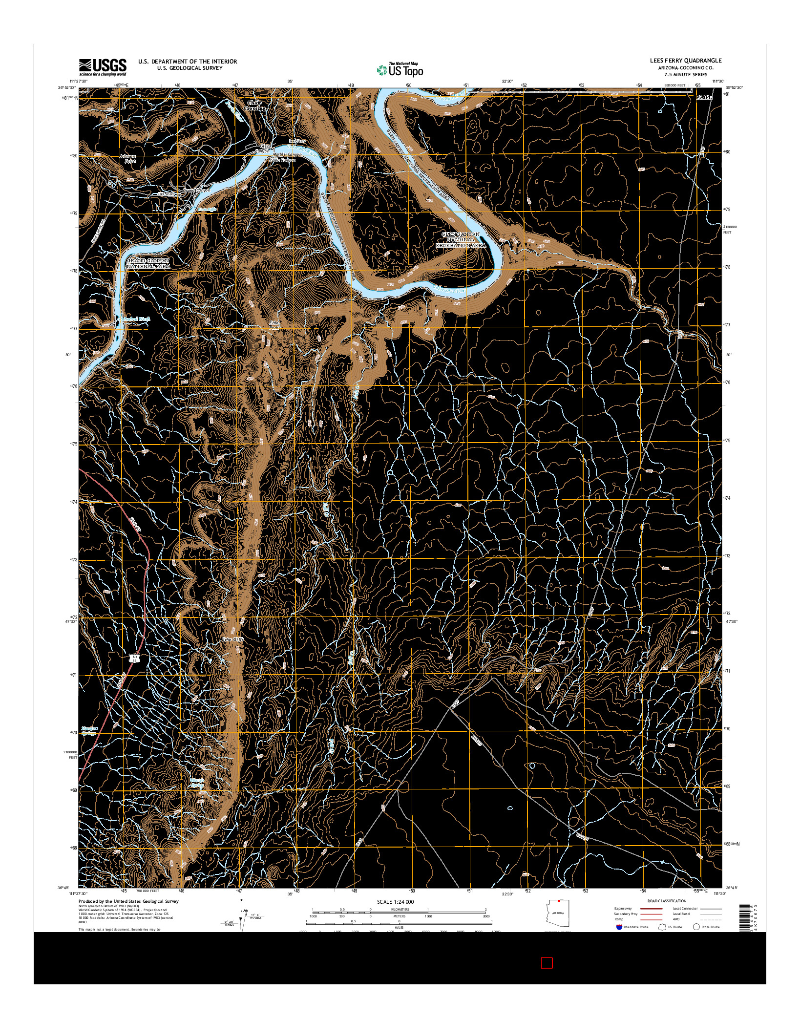 USGS US TOPO 7.5-MINUTE MAP FOR LEES FERRY, AZ 2014