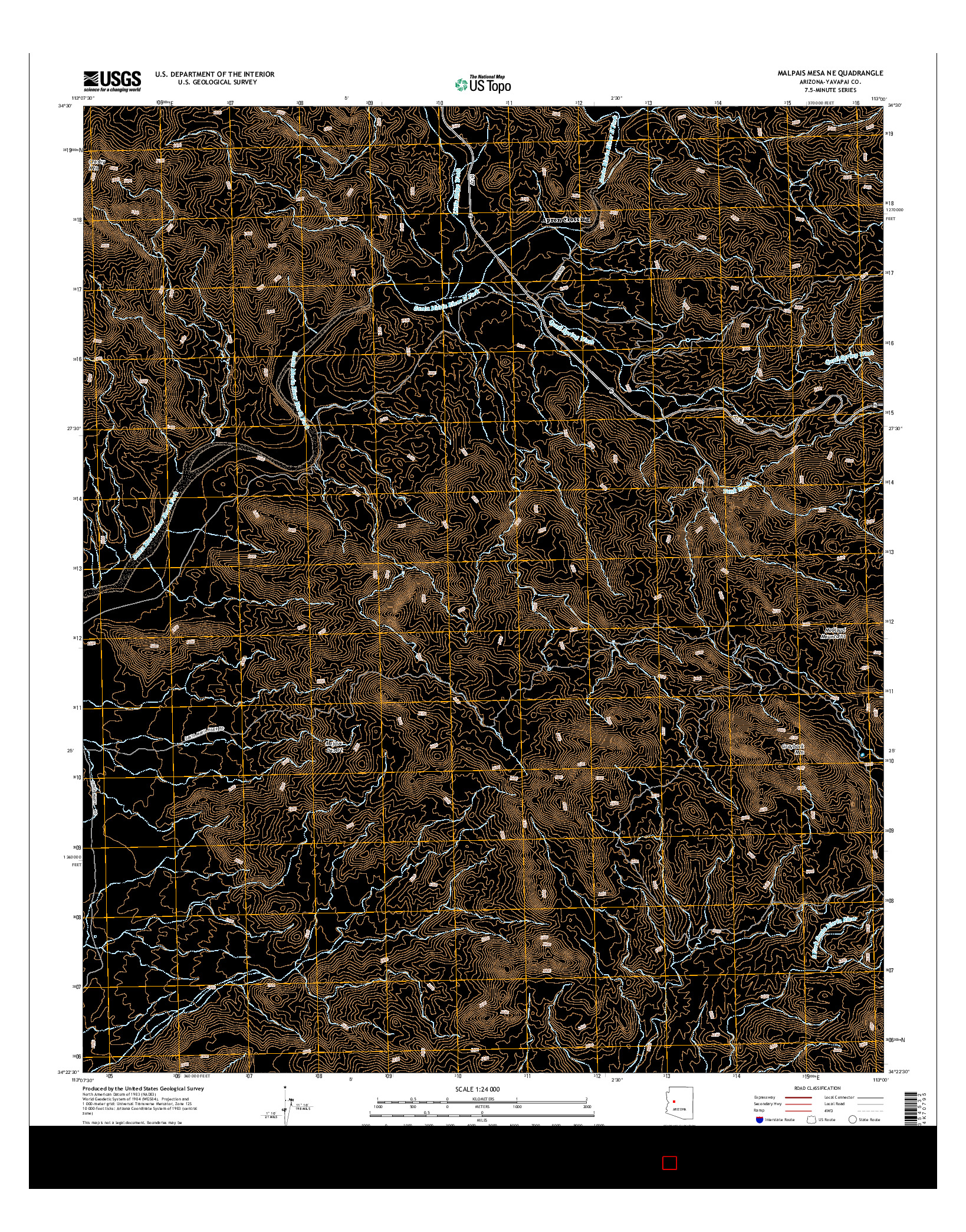 USGS US TOPO 7.5-MINUTE MAP FOR MALPAIS MESA NE, AZ 2014