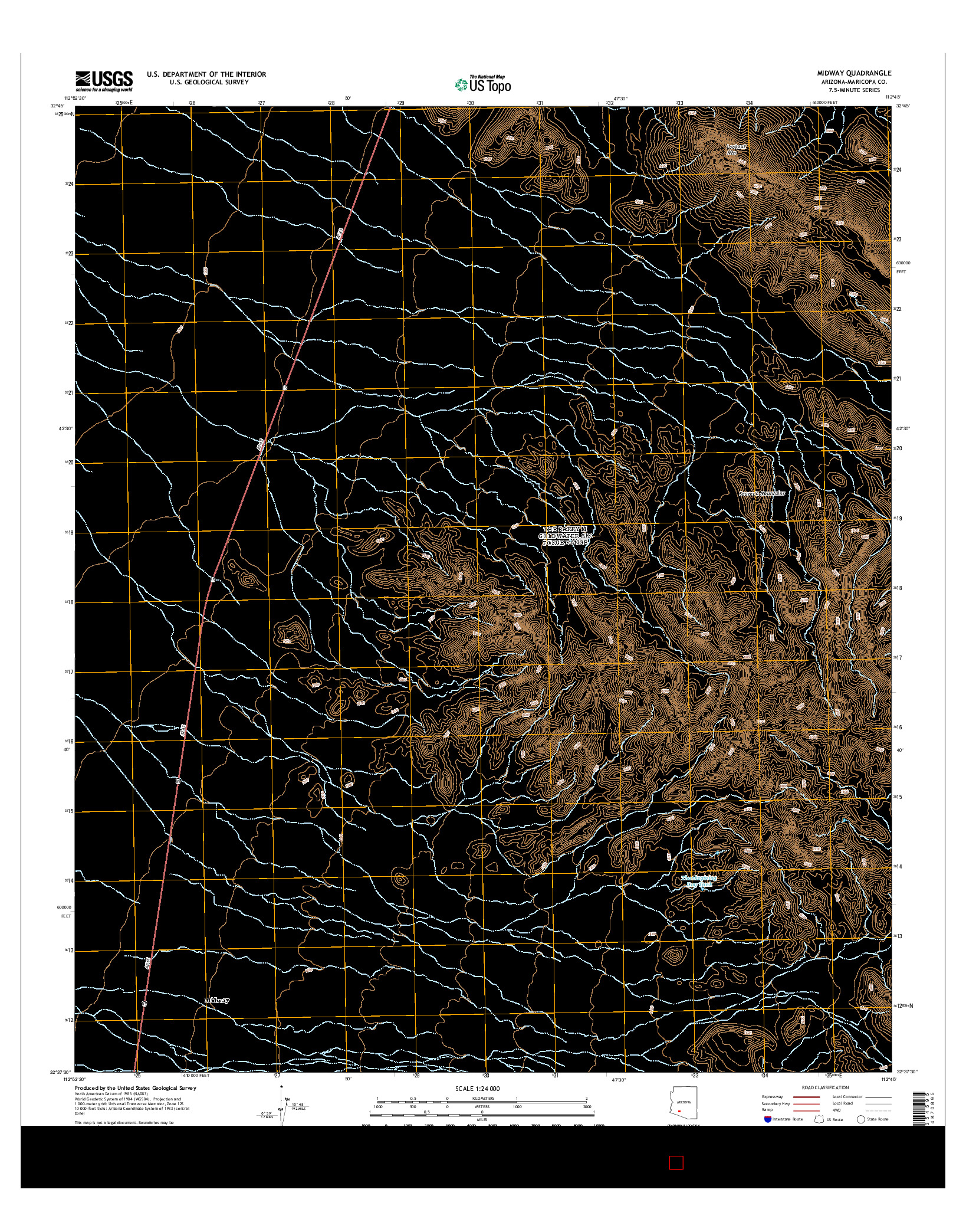 USGS US TOPO 7.5-MINUTE MAP FOR MIDWAY, AZ 2014