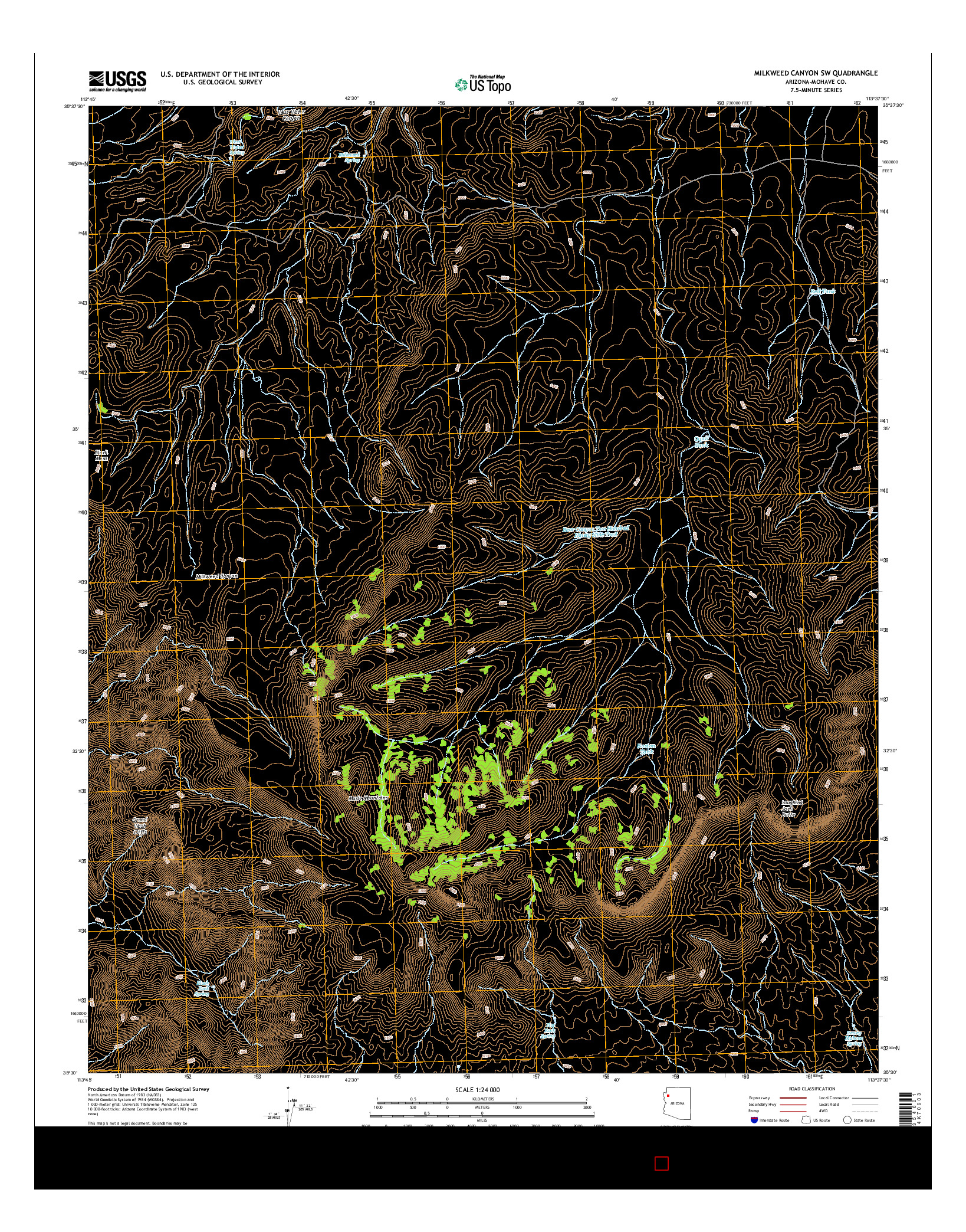 USGS US TOPO 7.5-MINUTE MAP FOR MILKWEED CANYON SW, AZ 2014