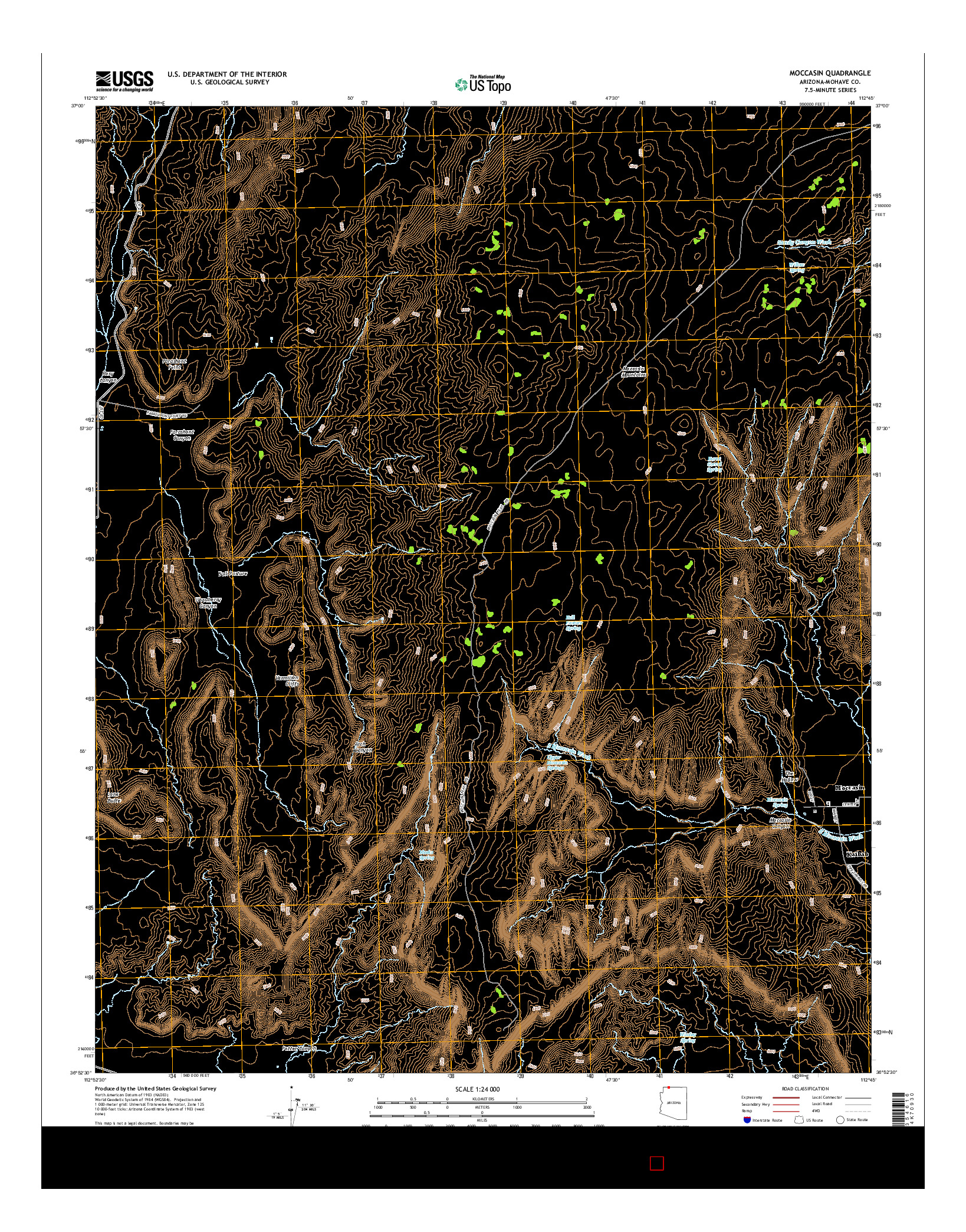 USGS US TOPO 7.5-MINUTE MAP FOR MOCCASIN, AZ 2014