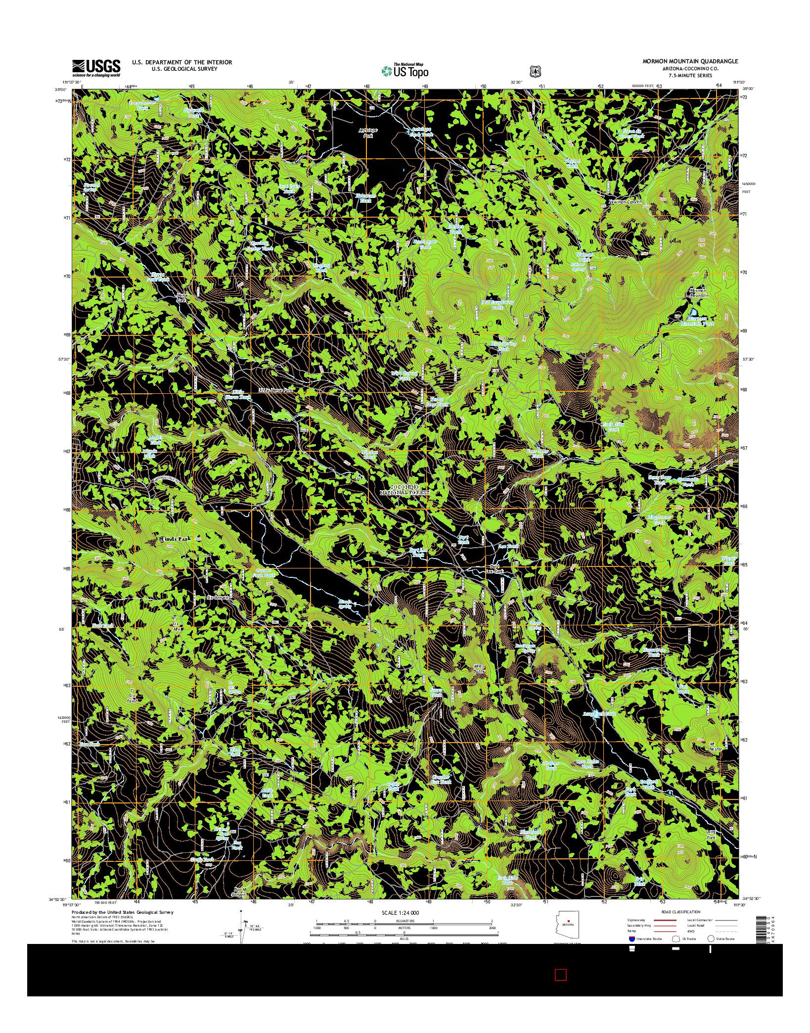 USGS US TOPO 7.5-MINUTE MAP FOR MORMON MOUNTAIN, AZ 2014
