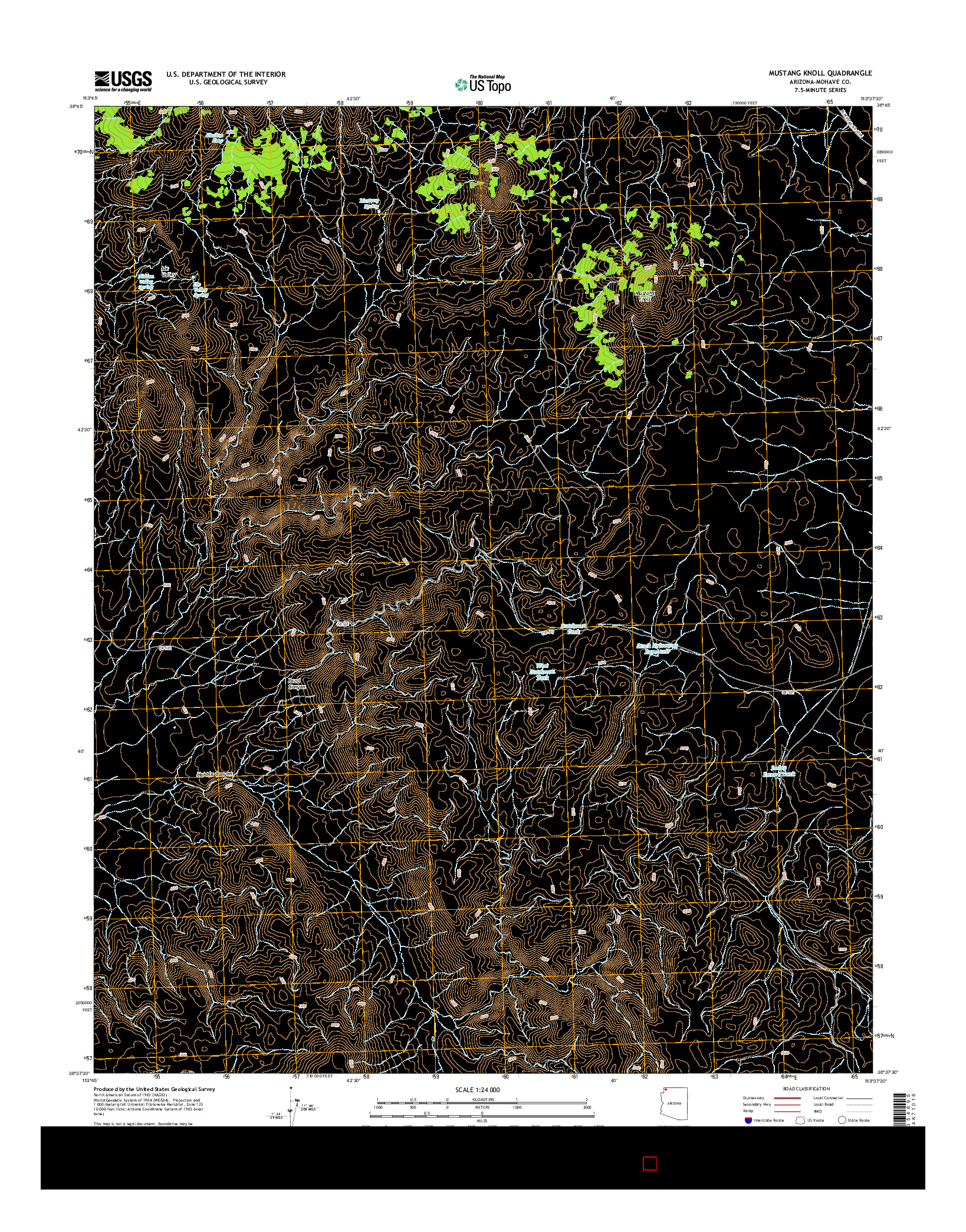 USGS US TOPO 7.5-MINUTE MAP FOR MUSTANG KNOLL, AZ 2014
