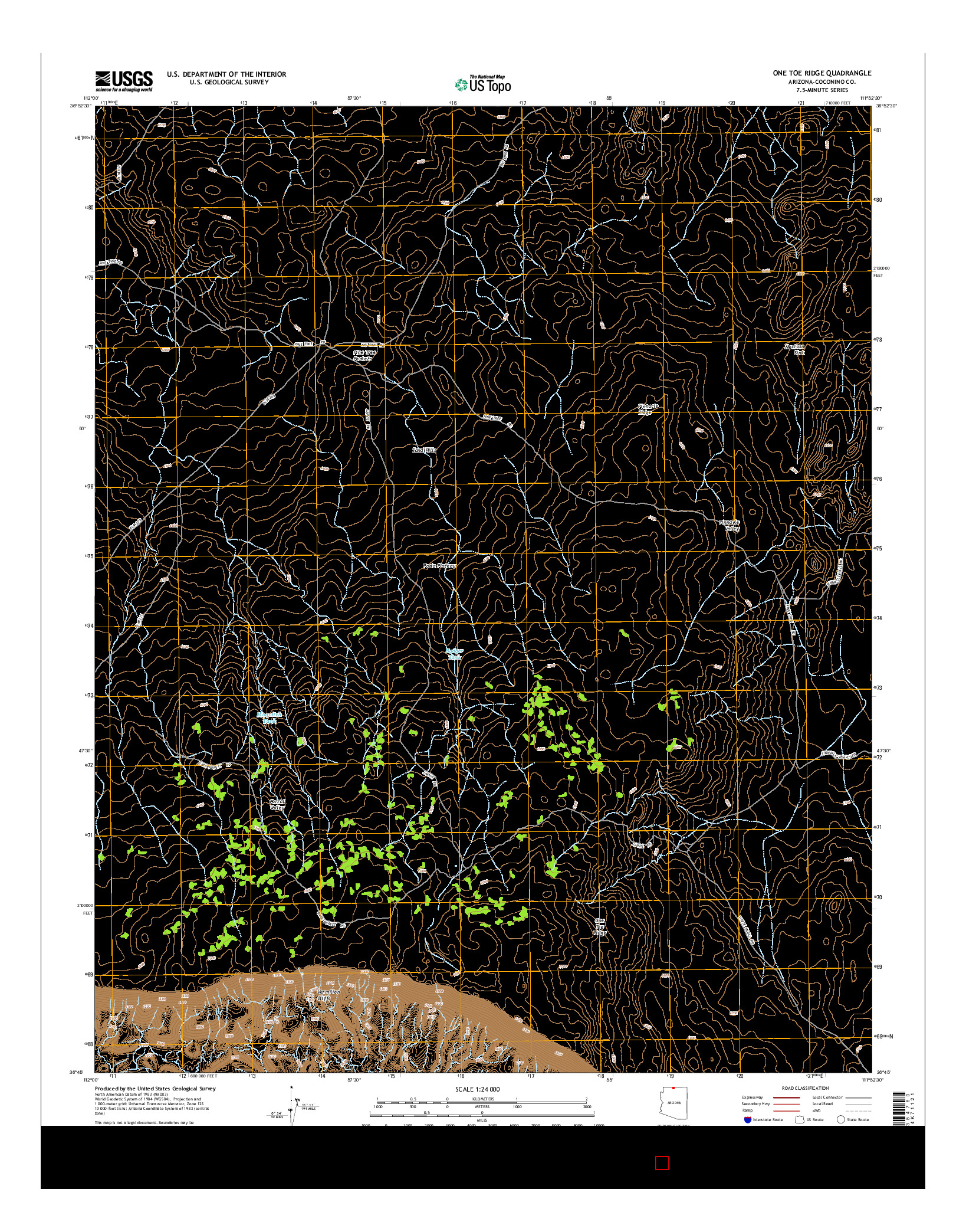 USGS US TOPO 7.5-MINUTE MAP FOR ONE TOE RIDGE, AZ 2014