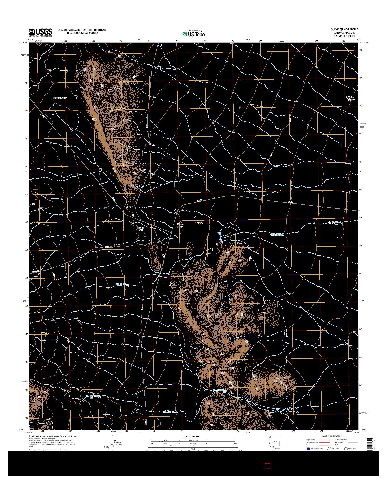USGS US TOPO 7.5-MINUTE MAP FOR GU VO, AZ 2014