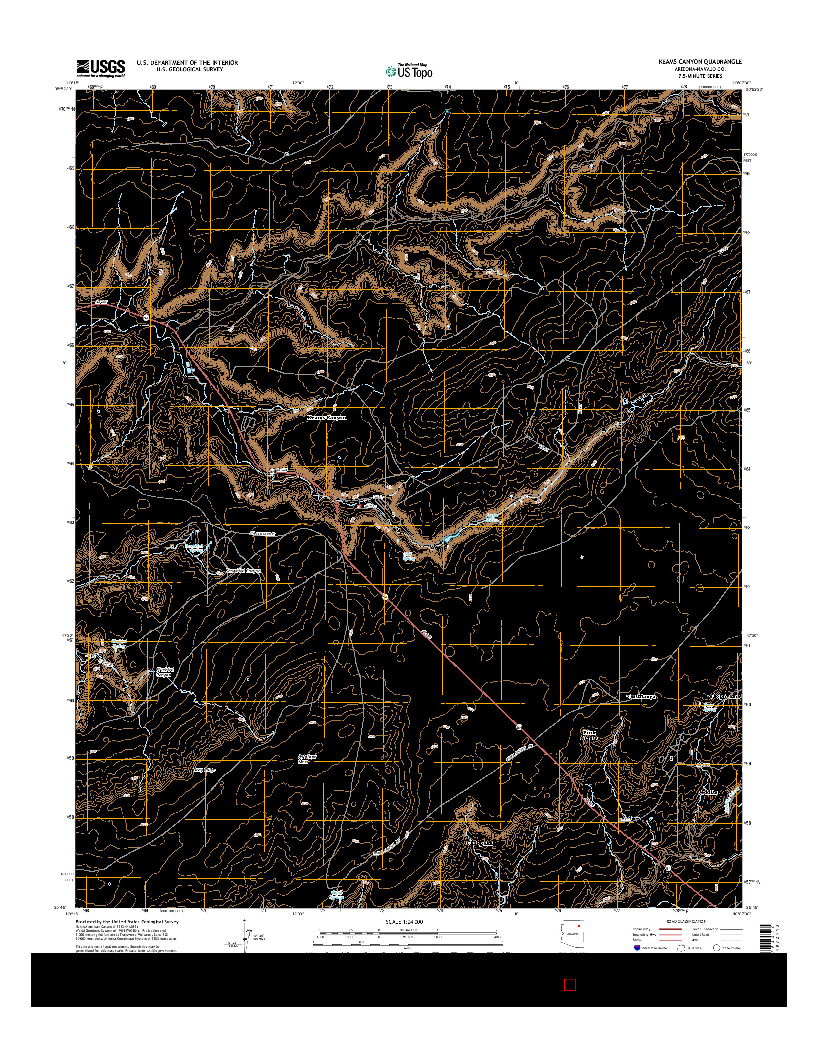 USGS US TOPO 7.5-MINUTE MAP FOR KEAMS CANYON, AZ 2014