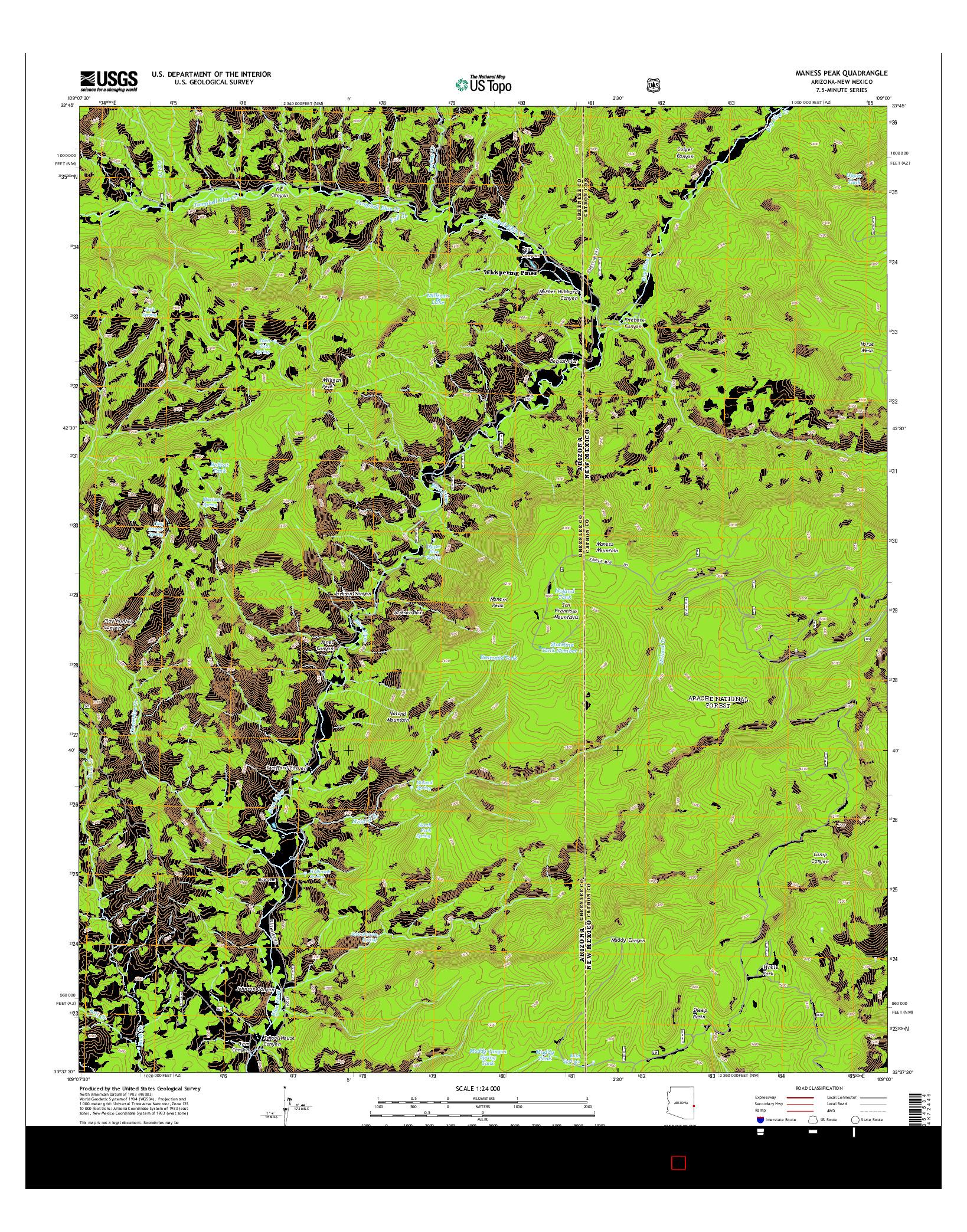 USGS US TOPO 7.5-MINUTE MAP FOR MANESS PEAK, AZ-NM 2014