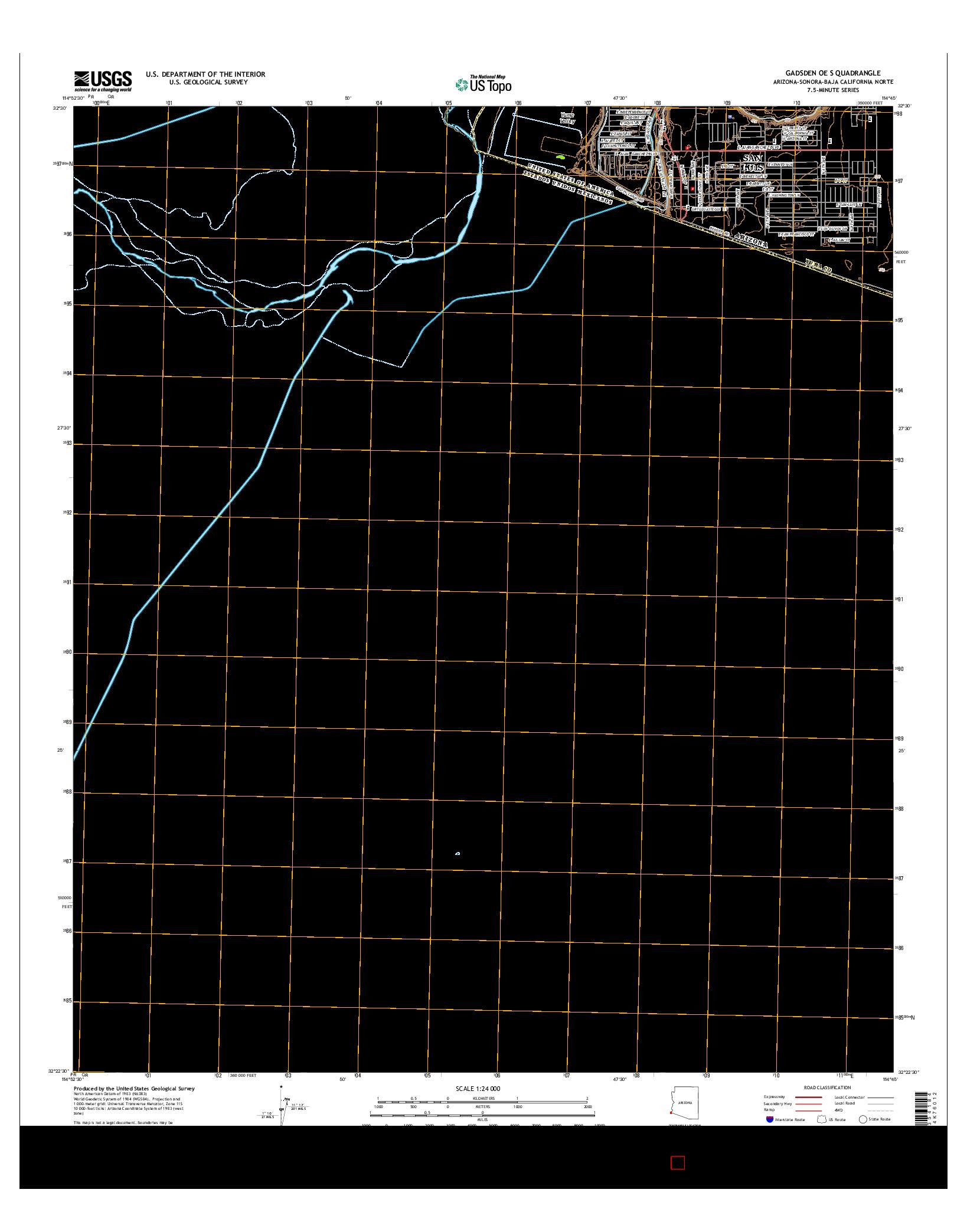 USGS US TOPO 7.5-MINUTE MAP FOR GADSDEN OE S, AZ-SON-BCN 2014