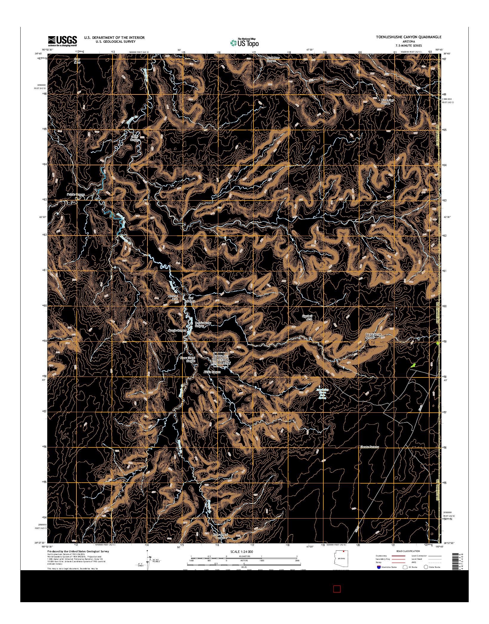 USGS US TOPO 7.5-MINUTE MAP FOR TOENLESHUSHE CANYON, AZ 2014