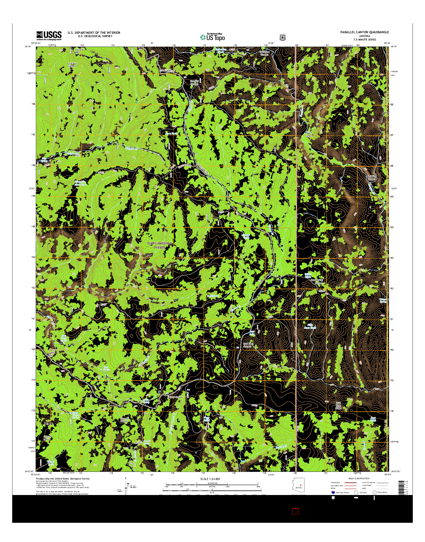 USGS US TOPO 7.5-MINUTE MAP FOR PARALLEL CANYON, AZ 2014