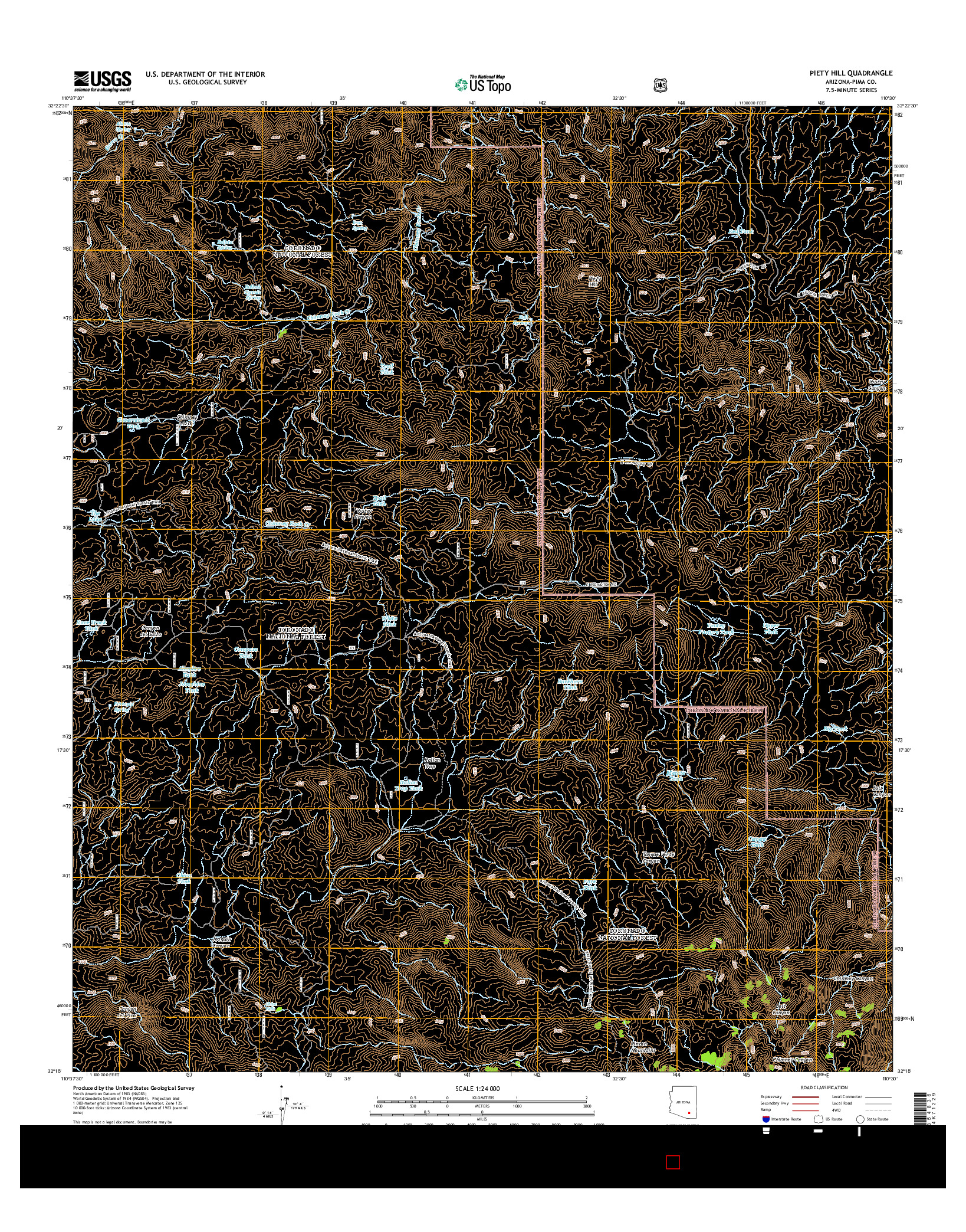USGS US TOPO 7.5-MINUTE MAP FOR PIETY HILL, AZ 2014
