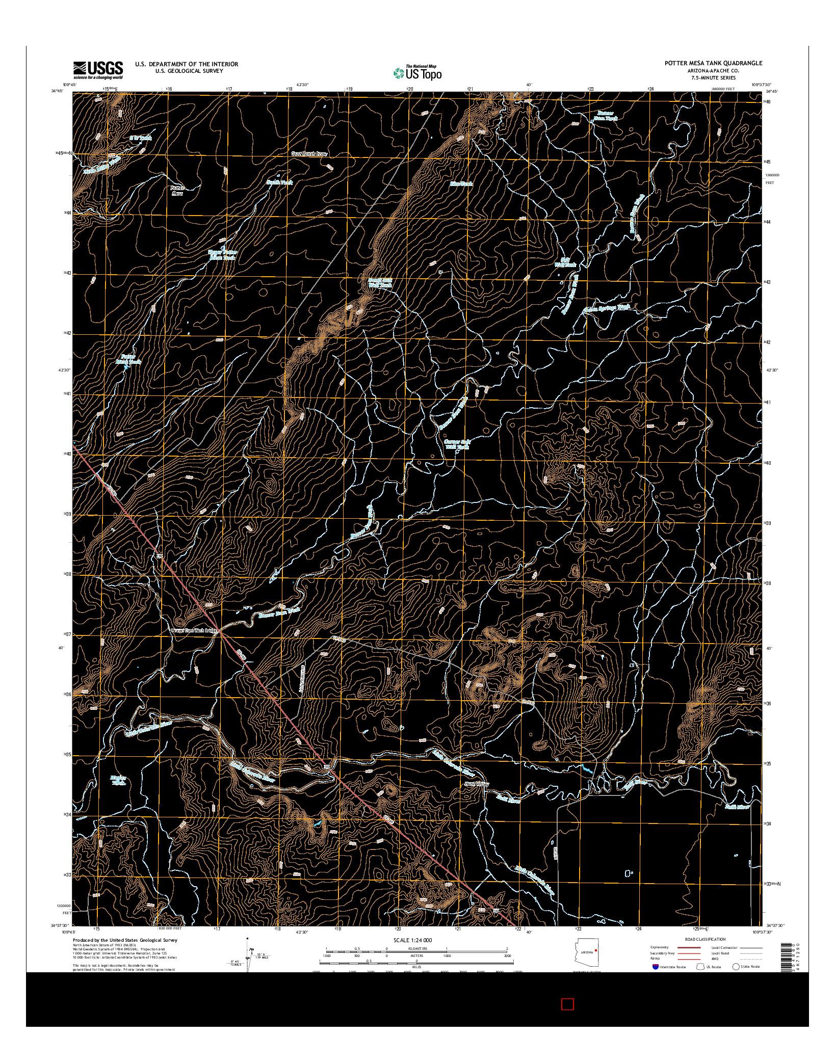 USGS US TOPO 7.5-MINUTE MAP FOR POTTER MESA TANK, AZ 2014