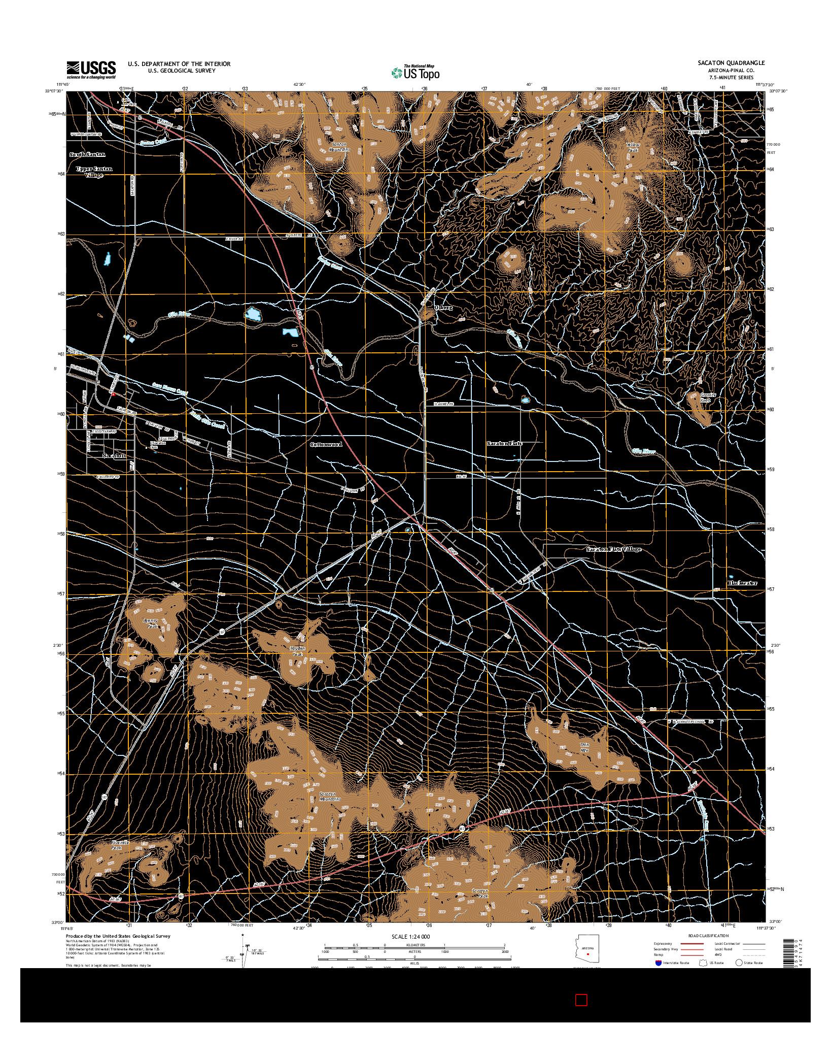 USGS US TOPO 7.5-MINUTE MAP FOR SACATON, AZ 2014
