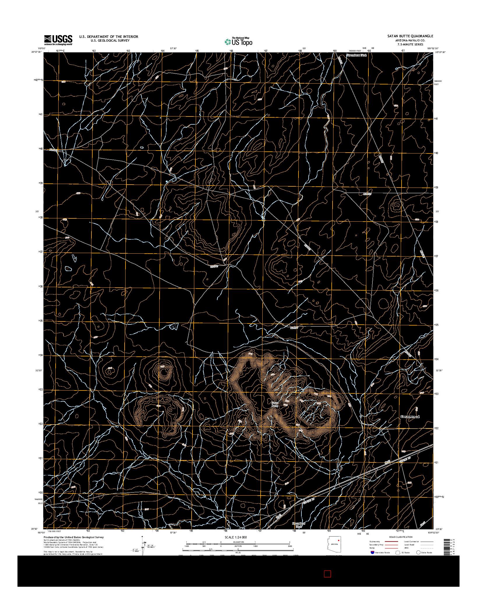 USGS US TOPO 7.5-MINUTE MAP FOR SATAN BUTTE, AZ 2014