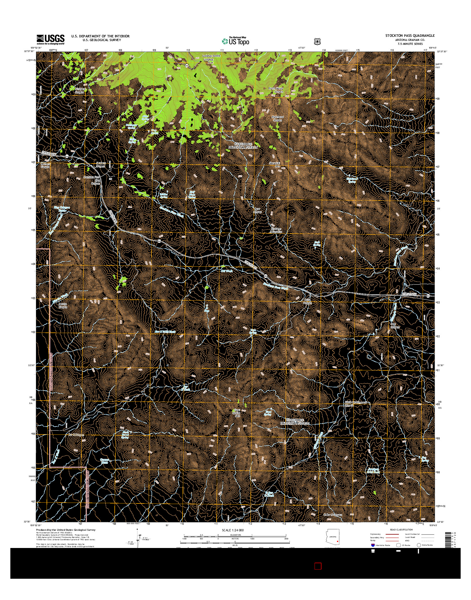 USGS US TOPO 7.5-MINUTE MAP FOR STOCKTON PASS, AZ 2014