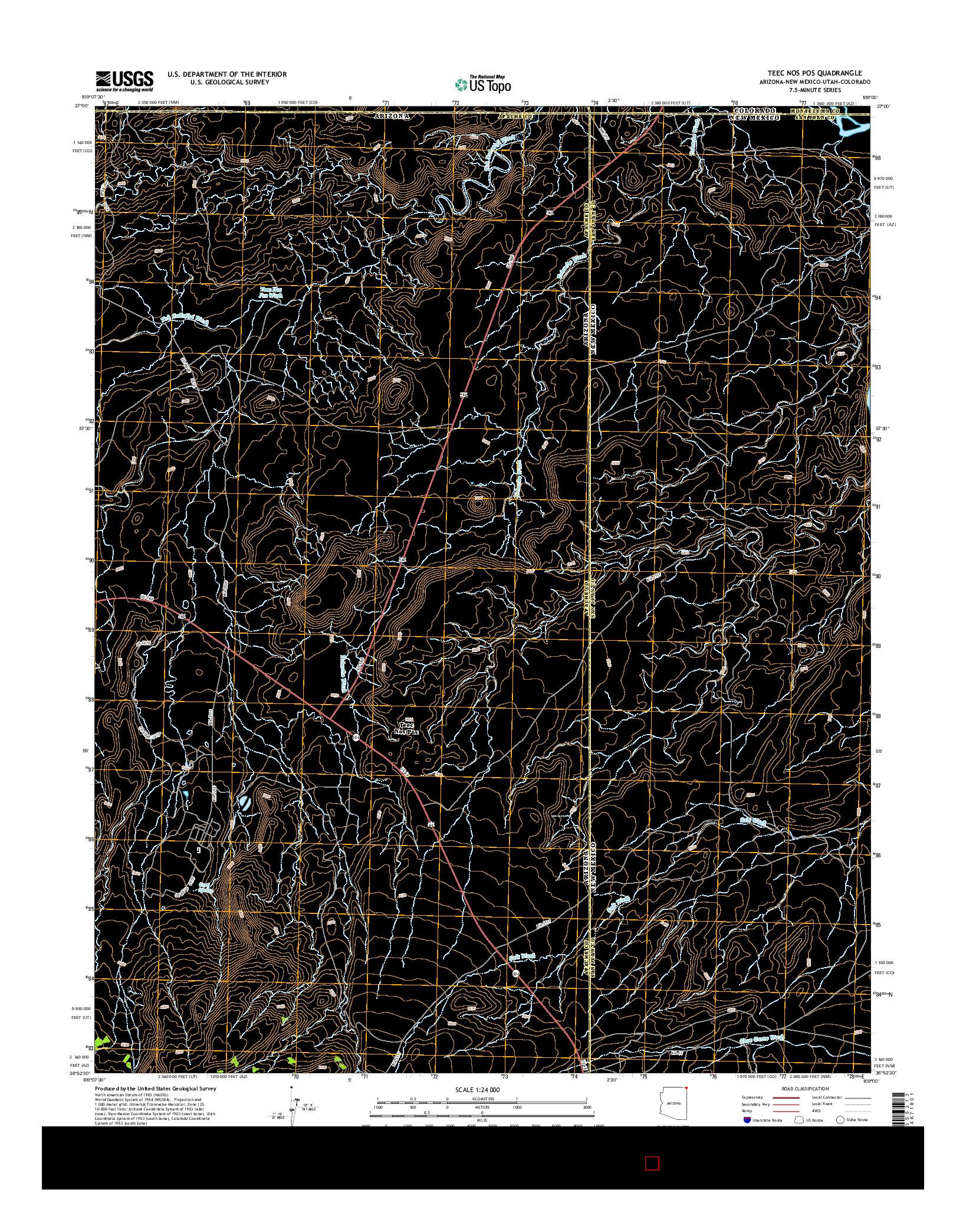 USGS US TOPO 7.5-MINUTE MAP FOR TEEC NOS POS, AZ-NM-UT-CO 2014