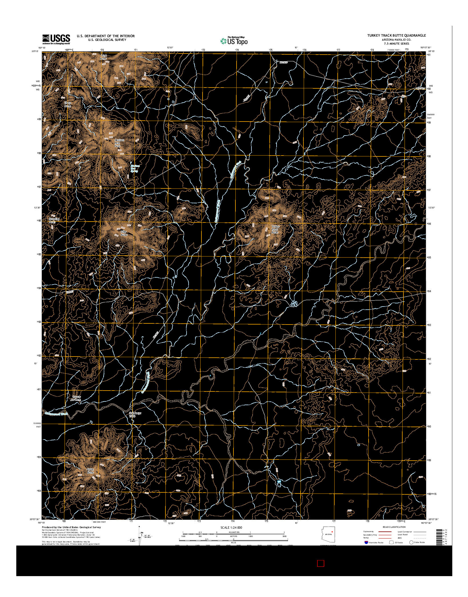 USGS US TOPO 7.5-MINUTE MAP FOR TURKEY TRACK BUTTE, AZ 2014