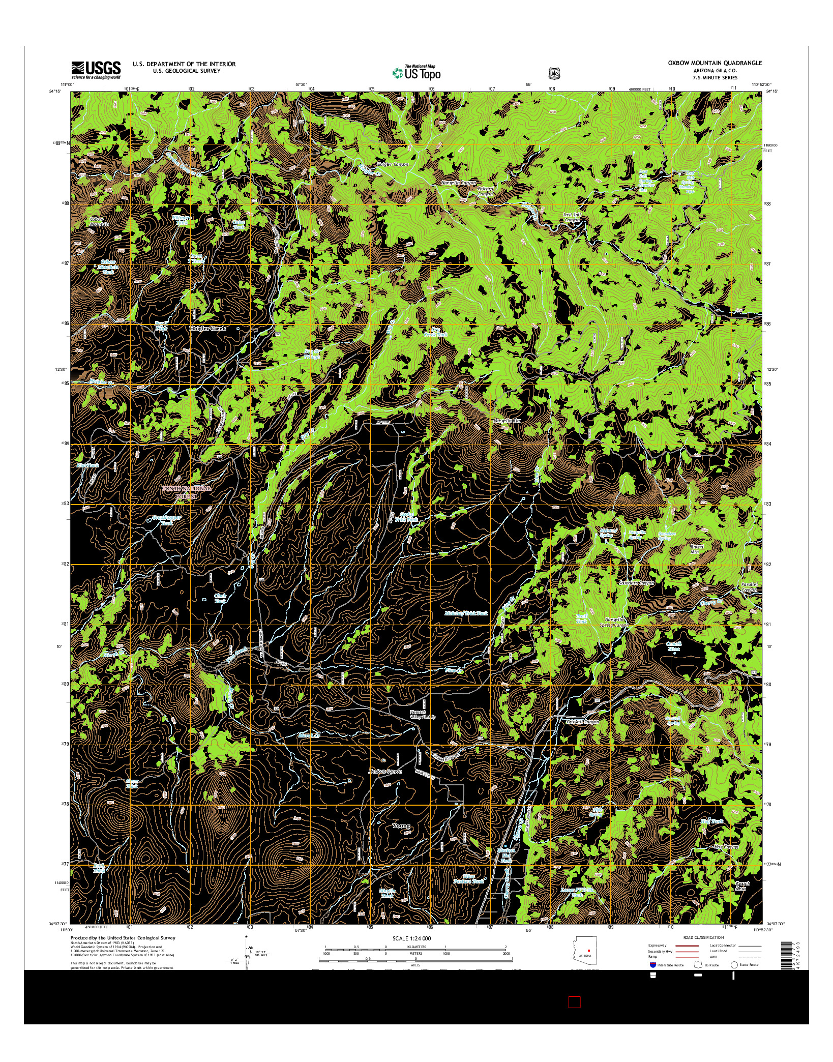 USGS US TOPO 7.5-MINUTE MAP FOR OXBOW MOUNTAIN, AZ 2014
