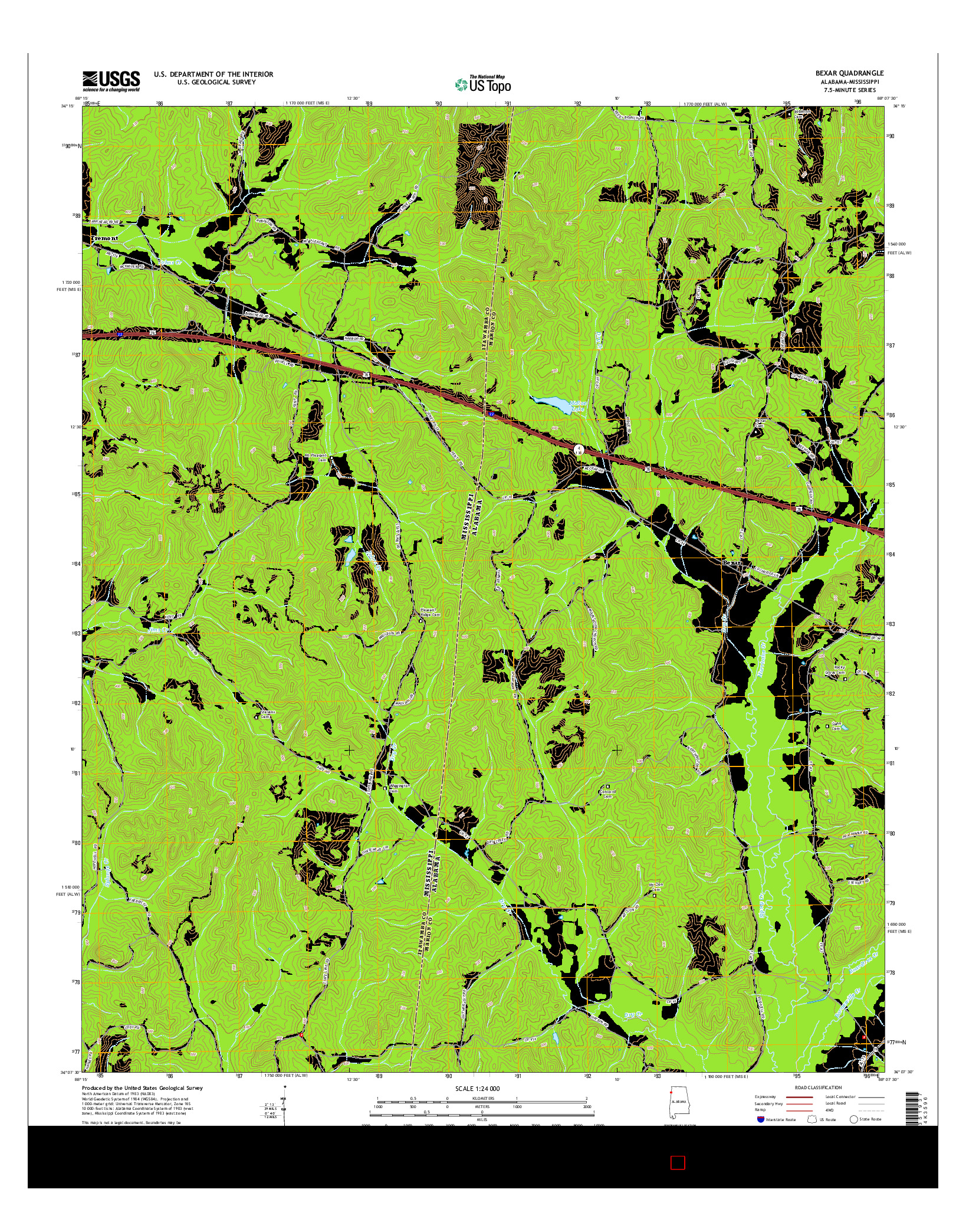 USGS US TOPO 7.5-MINUTE MAP FOR BEXAR, AL-MS 2014