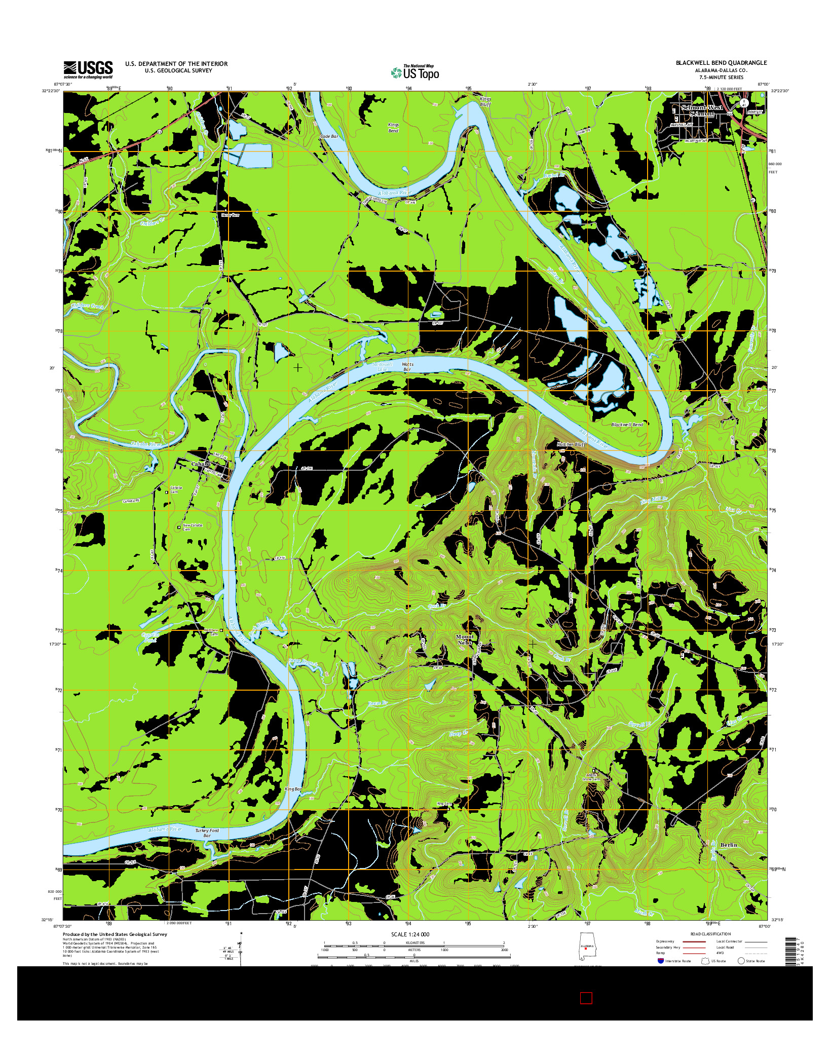 USGS US TOPO 7.5-MINUTE MAP FOR BLACKWELL BEND, AL 2014