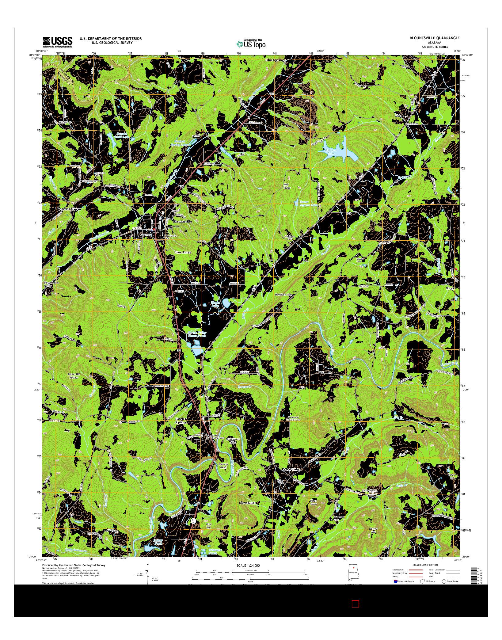 USGS US TOPO 7.5-MINUTE MAP FOR BLOUNTSVILLE, AL 2014