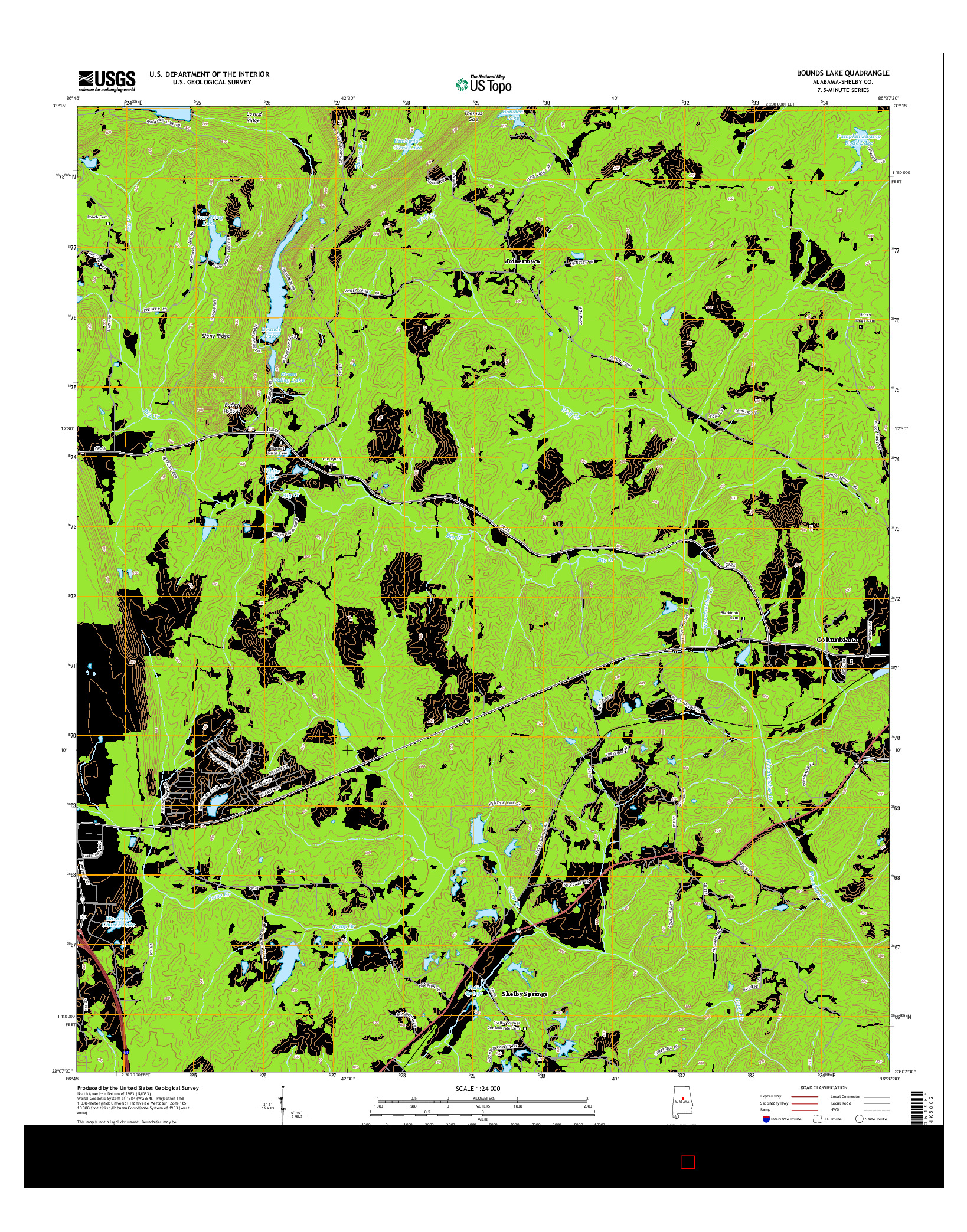 USGS US TOPO 7.5-MINUTE MAP FOR BOUNDS LAKE, AL 2014