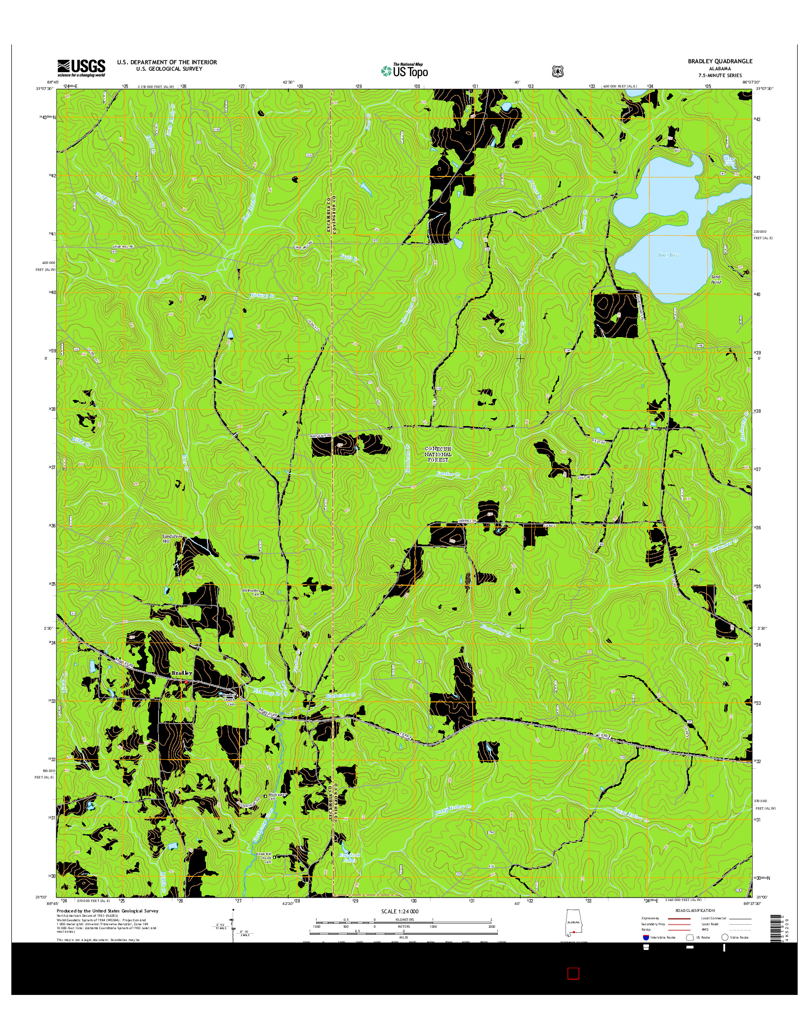 USGS US TOPO 7.5-MINUTE MAP FOR BRADLEY, AL 2014