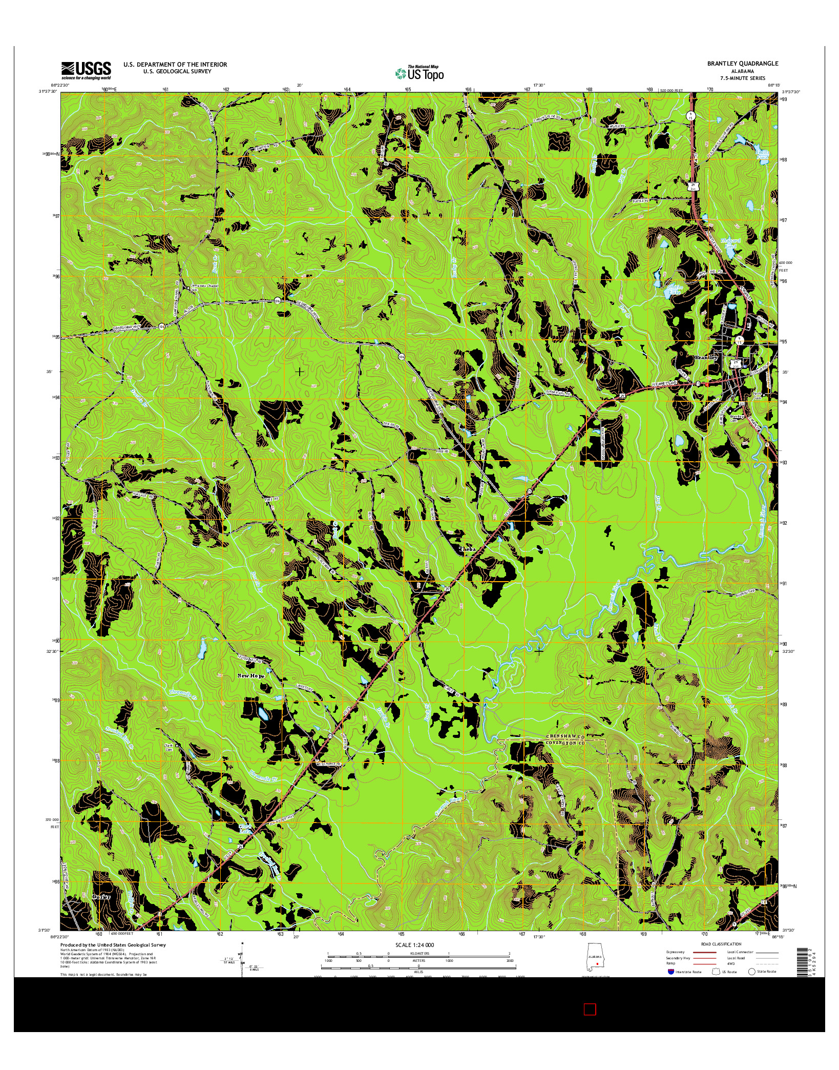 USGS US TOPO 7.5-MINUTE MAP FOR BRANTLEY, AL 2014