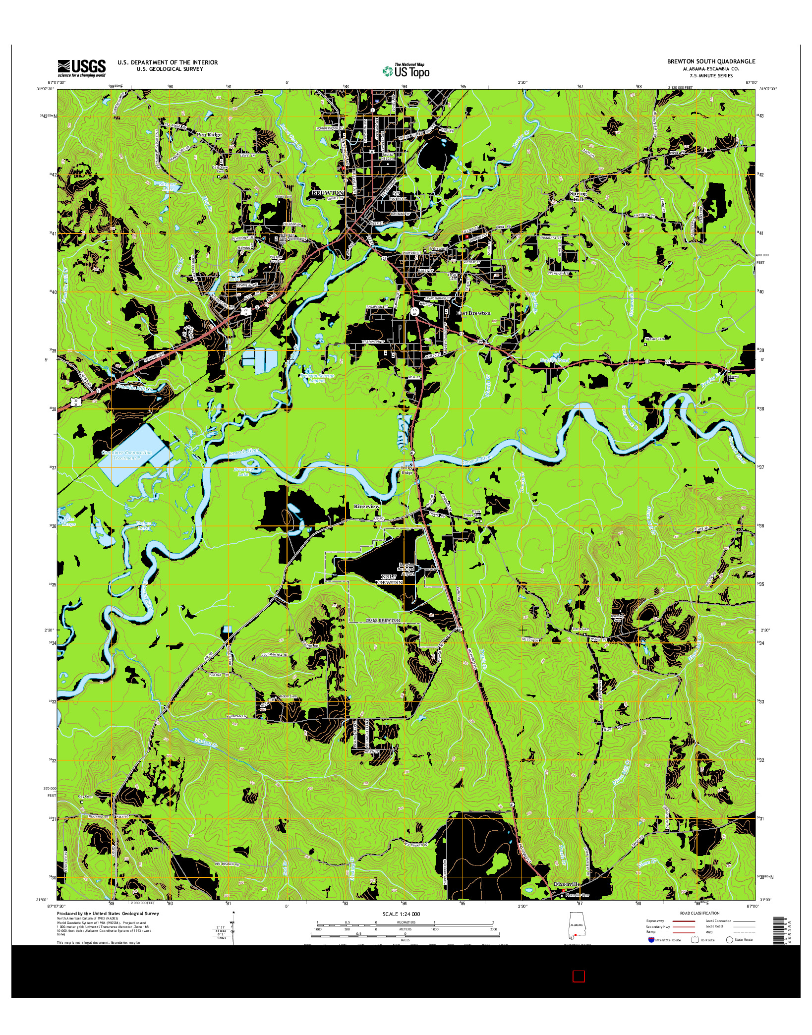 USGS US TOPO 7.5-MINUTE MAP FOR BREWTON SOUTH, AL 2014