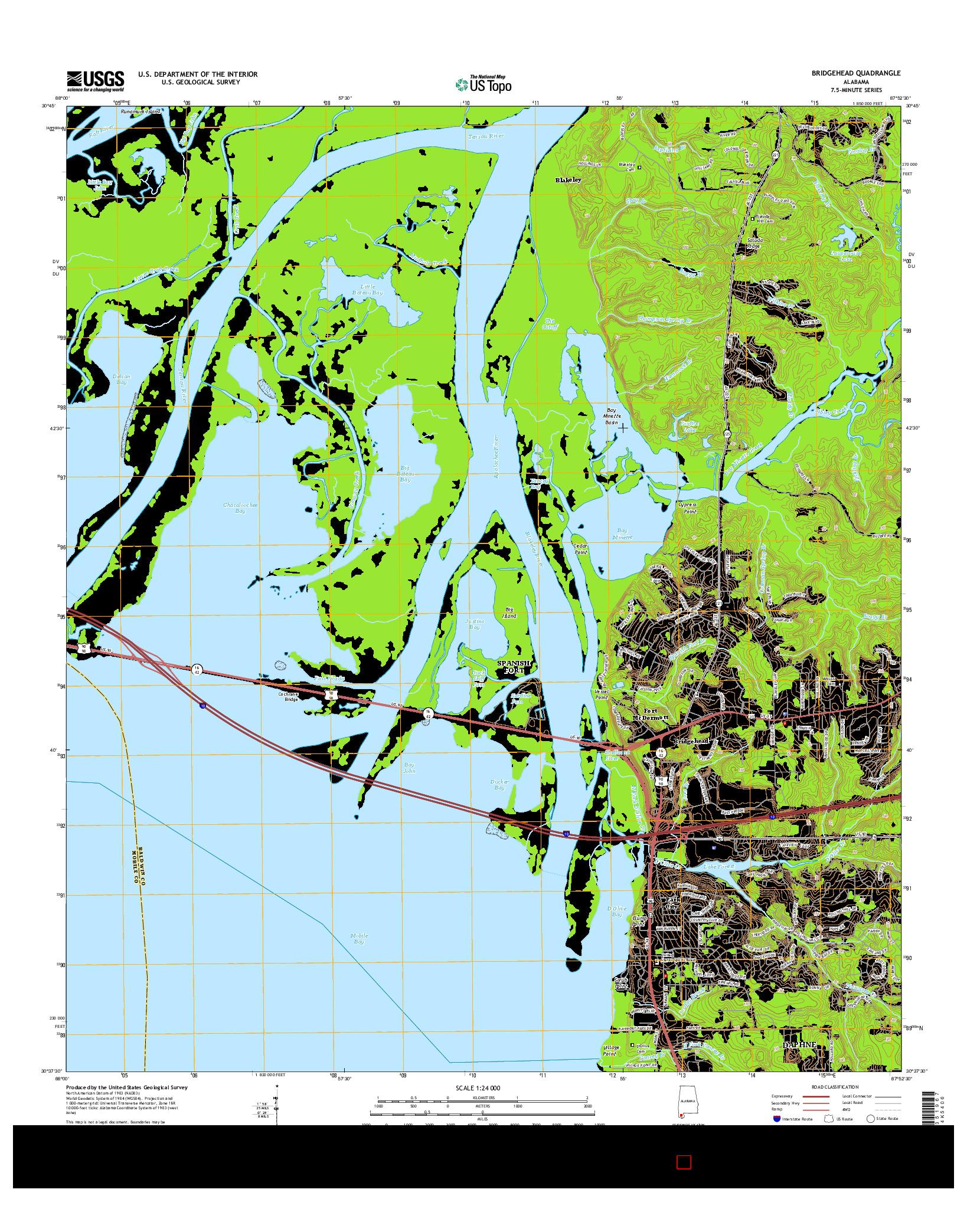 USGS US TOPO 7.5-MINUTE MAP FOR BRIDGEHEAD, AL 2014