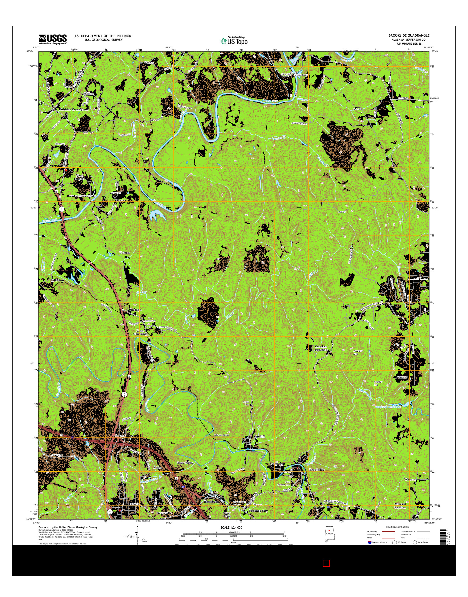 USGS US TOPO 7.5-MINUTE MAP FOR BROOKSIDE, AL 2014