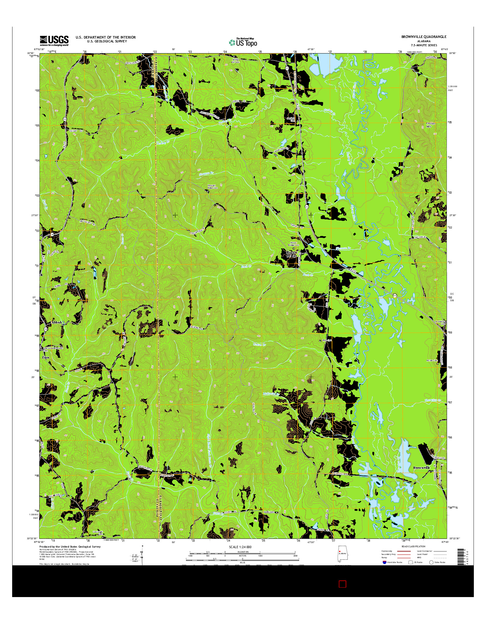 USGS US TOPO 7.5-MINUTE MAP FOR BROWNVILLE, AL 2014