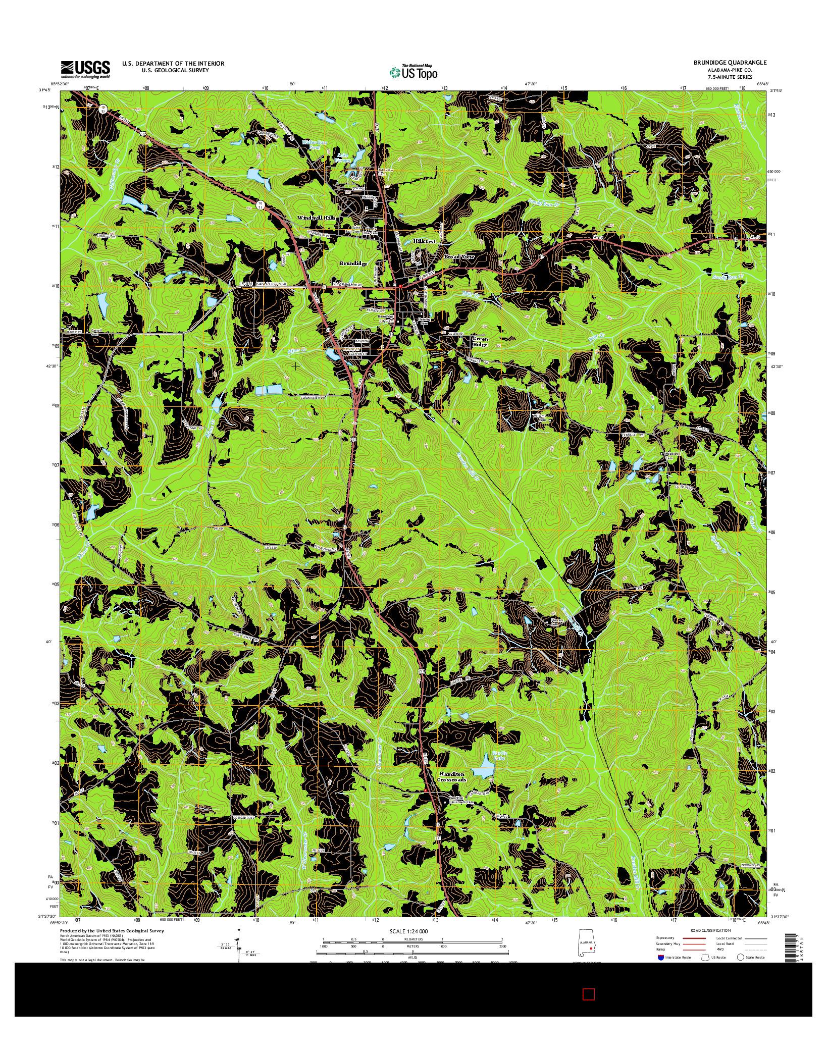 USGS US TOPO 7.5-MINUTE MAP FOR BRUNDIDGE, AL 2014