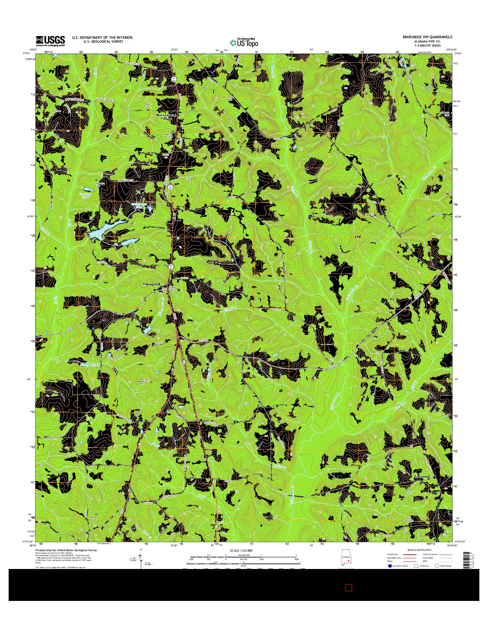 USGS US TOPO 7.5-MINUTE MAP FOR BRUNDIDGE NW, AL 2014