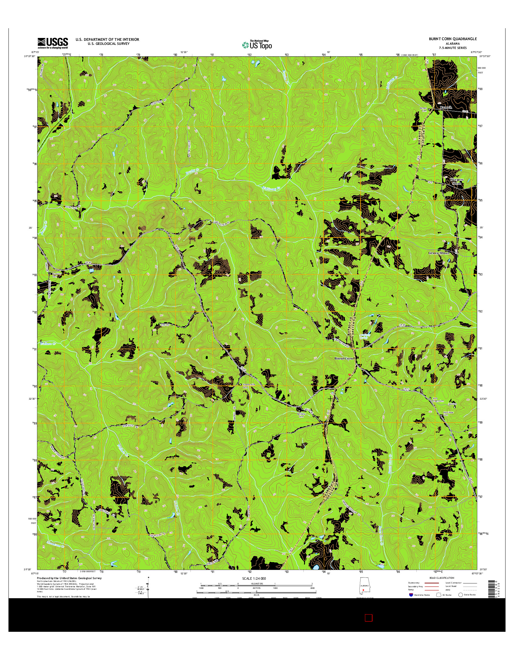 USGS US TOPO 7.5-MINUTE MAP FOR BURNT CORN, AL 2014
