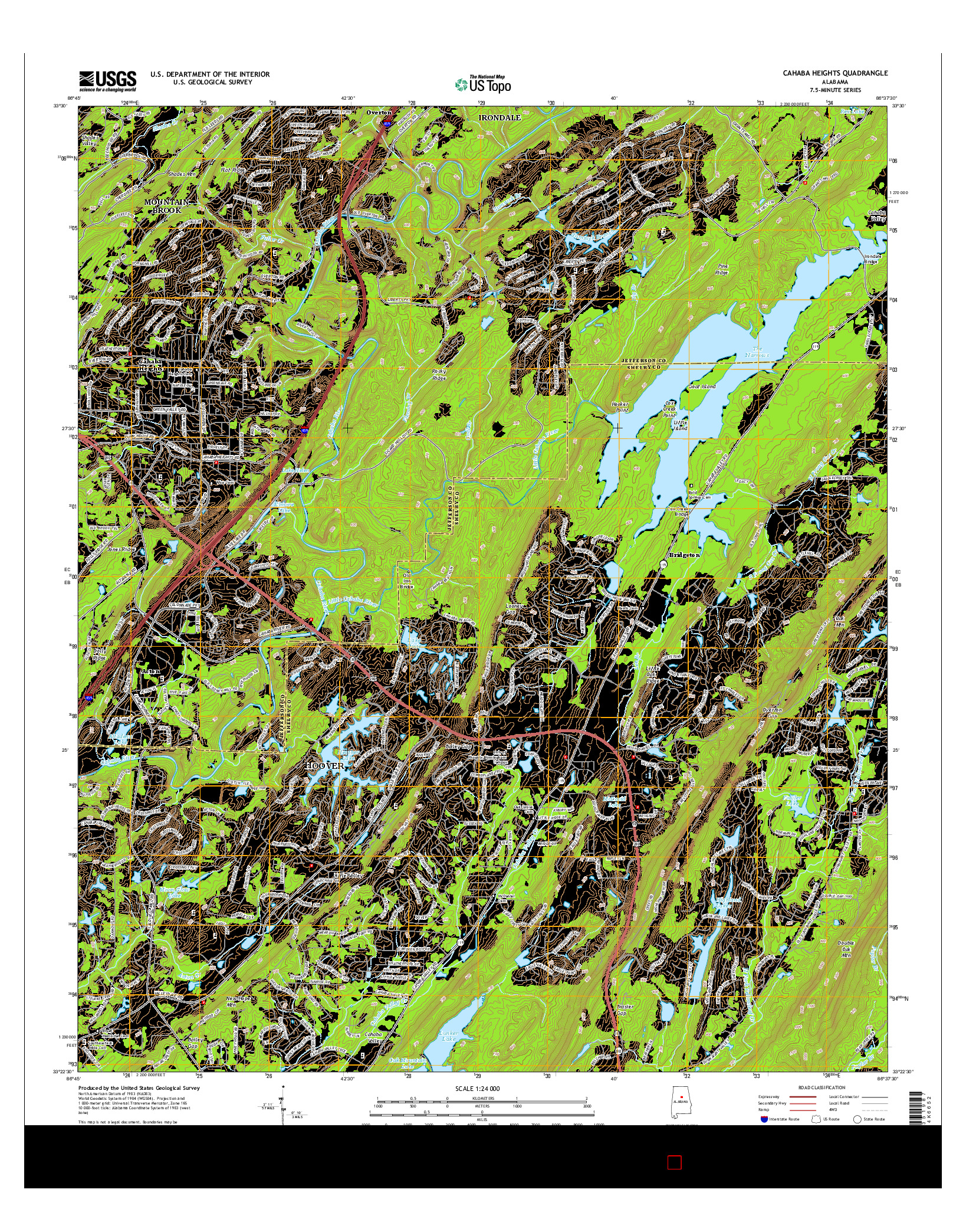 USGS US TOPO 7.5-MINUTE MAP FOR CAHABA HEIGHTS, AL 2014