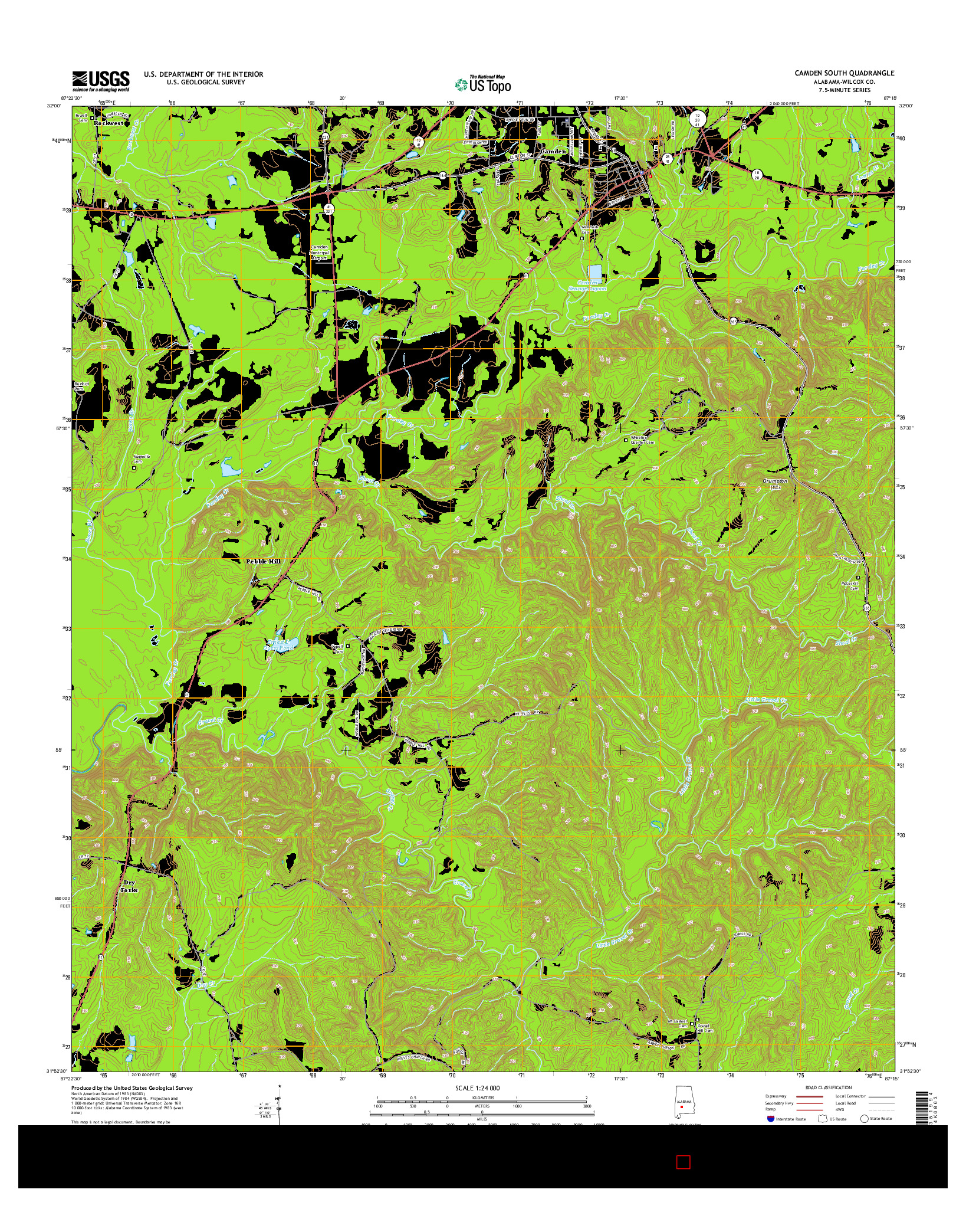 USGS US TOPO 7.5-MINUTE MAP FOR CAMDEN SOUTH, AL 2014