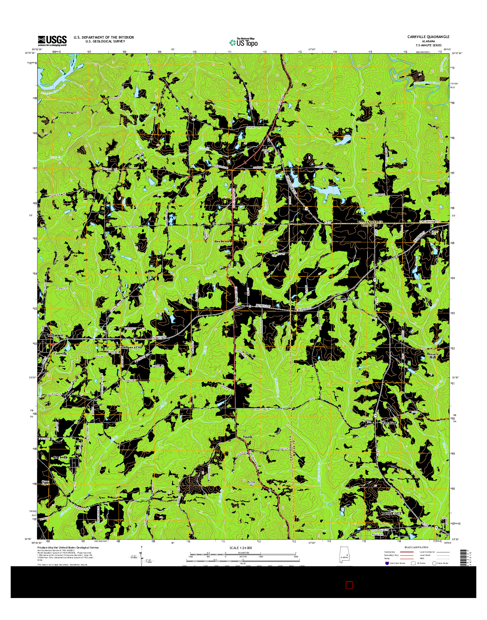 USGS US TOPO 7.5-MINUTE MAP FOR CARRVILLE, AL 2014