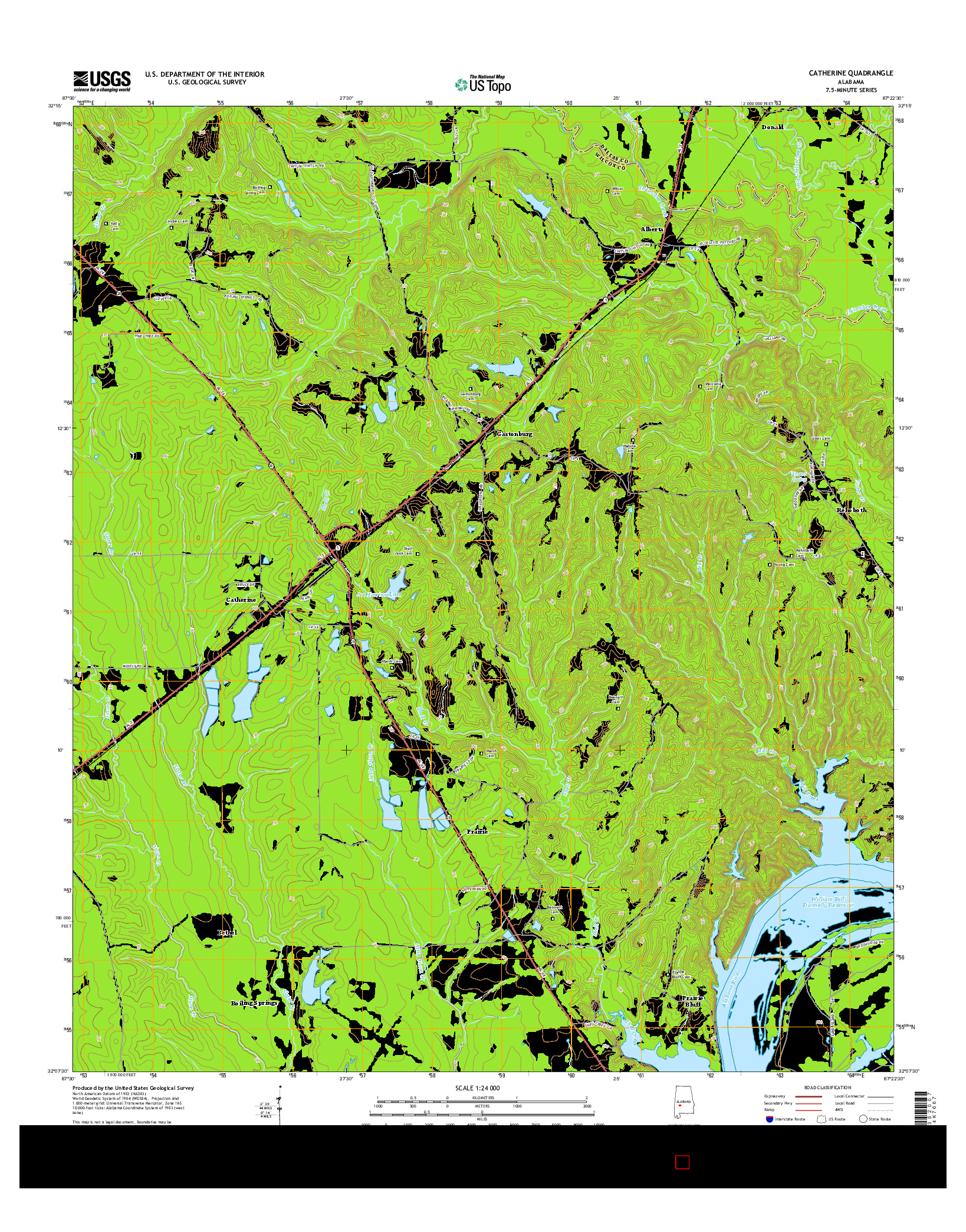 USGS US TOPO 7.5-MINUTE MAP FOR CATHERINE, AL 2014