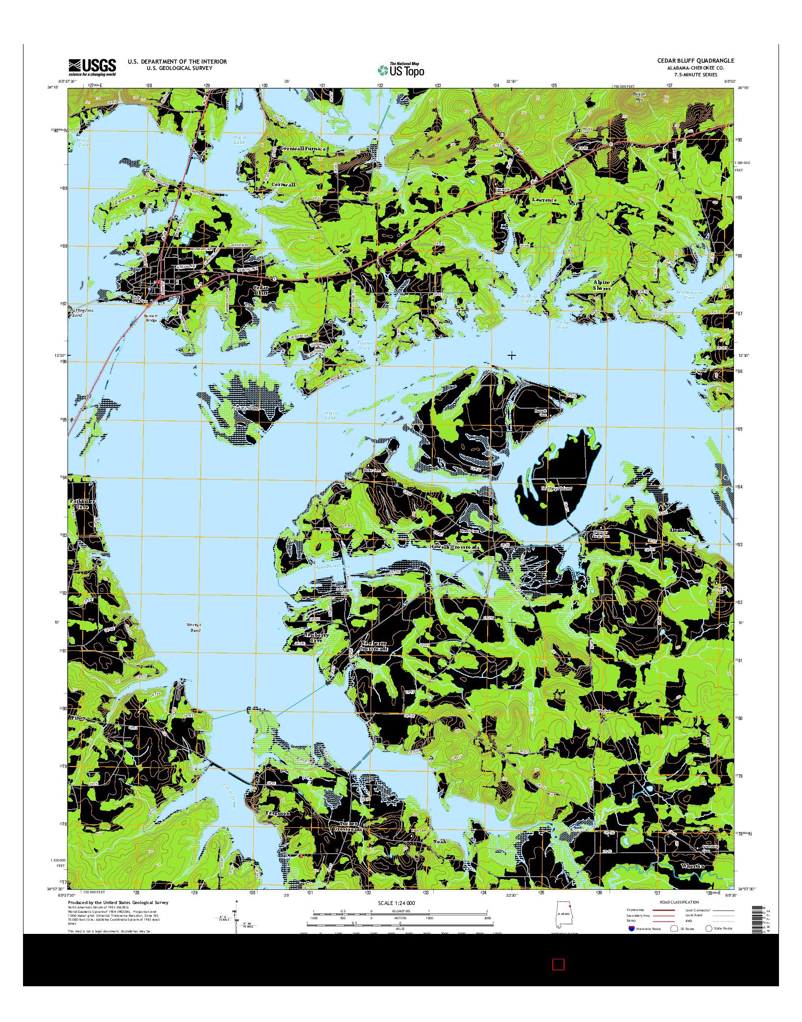USGS US TOPO 7.5-MINUTE MAP FOR CEDAR BLUFF, AL 2014