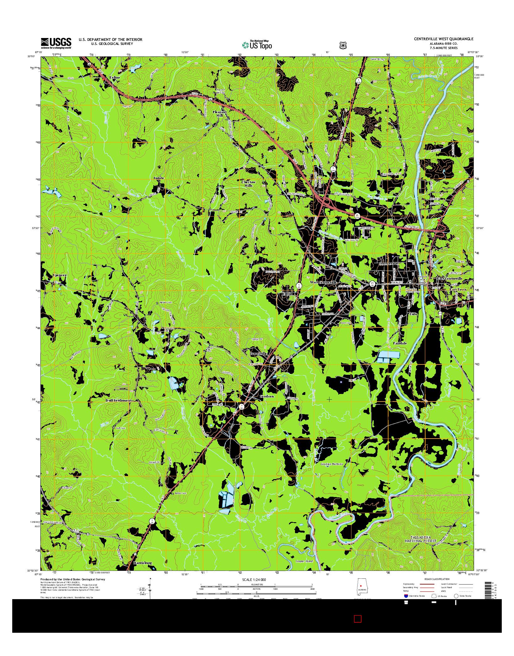 USGS US TOPO 7.5-MINUTE MAP FOR CENTREVILLE WEST, AL 2014