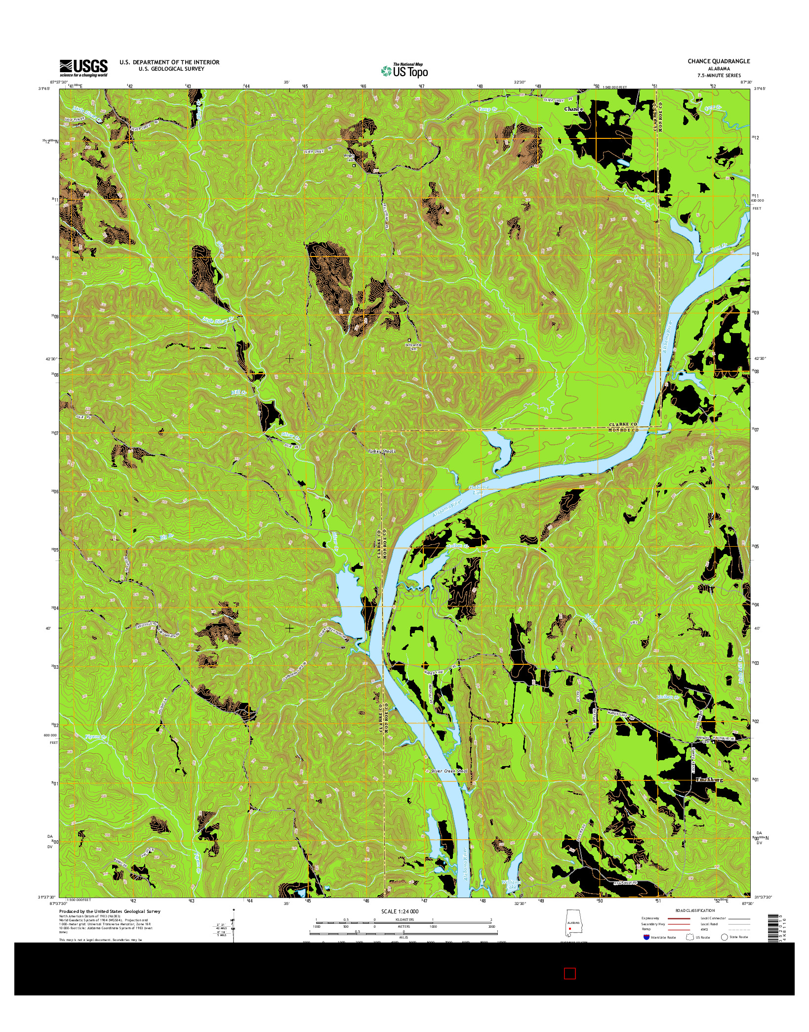 USGS US TOPO 7.5-MINUTE MAP FOR CHANCE, AL 2014