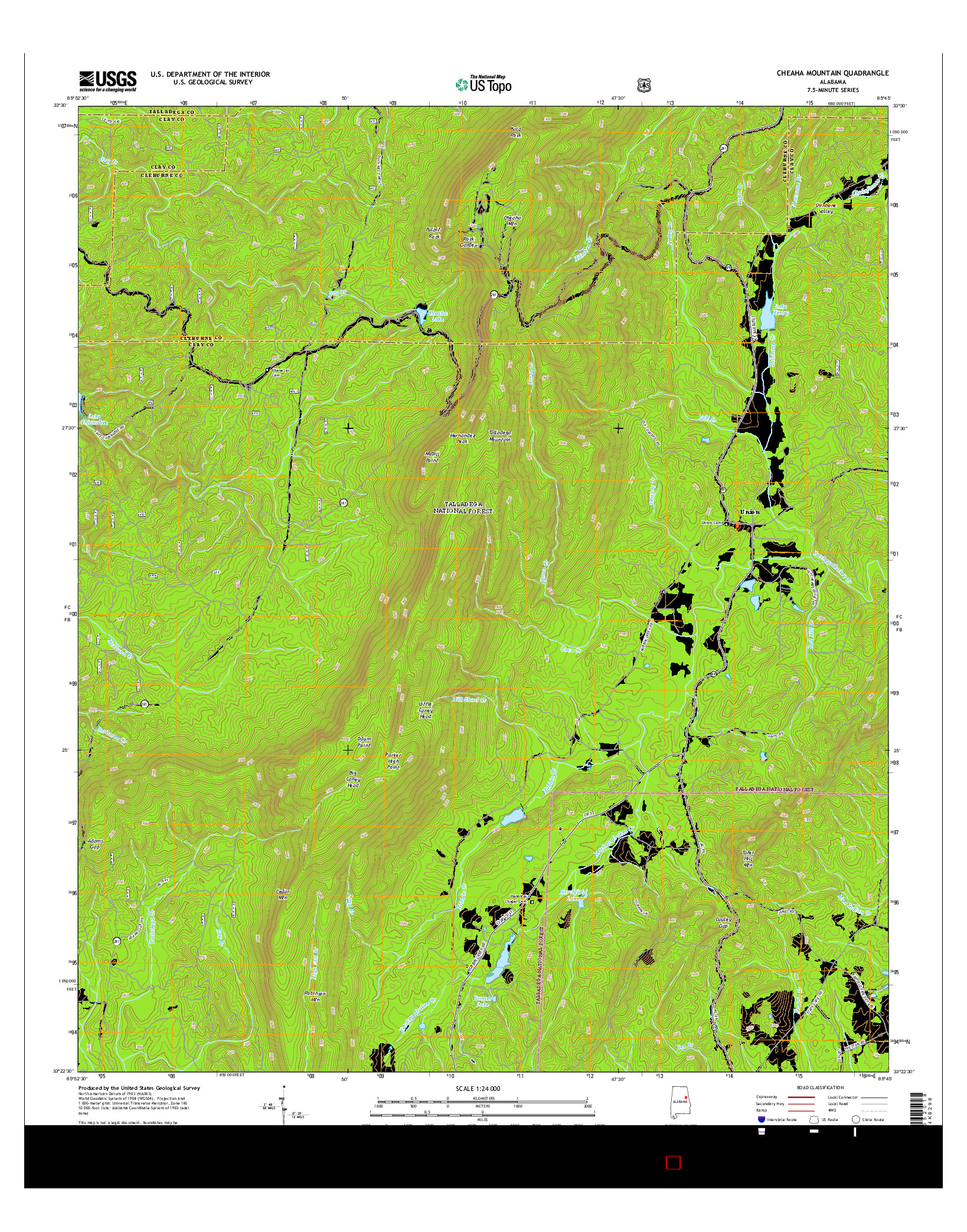 USGS US TOPO 7.5-MINUTE MAP FOR CHEAHA MOUNTAIN, AL 2014