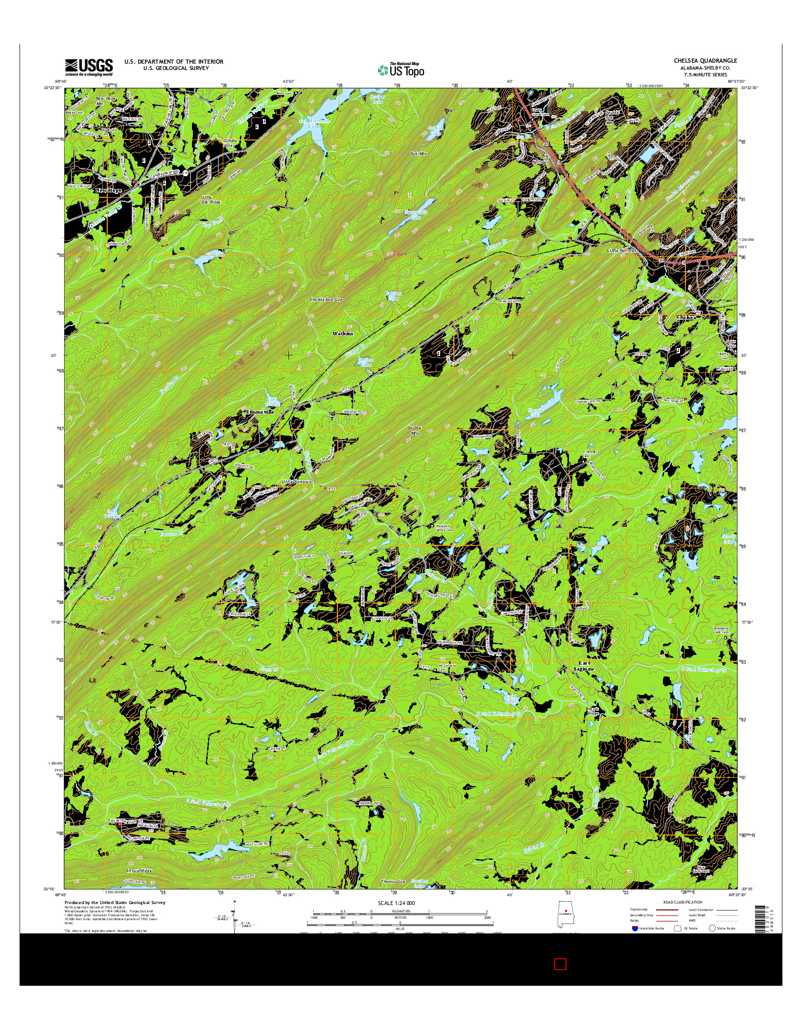 USGS US TOPO 7.5-MINUTE MAP FOR CHELSEA, AL 2014