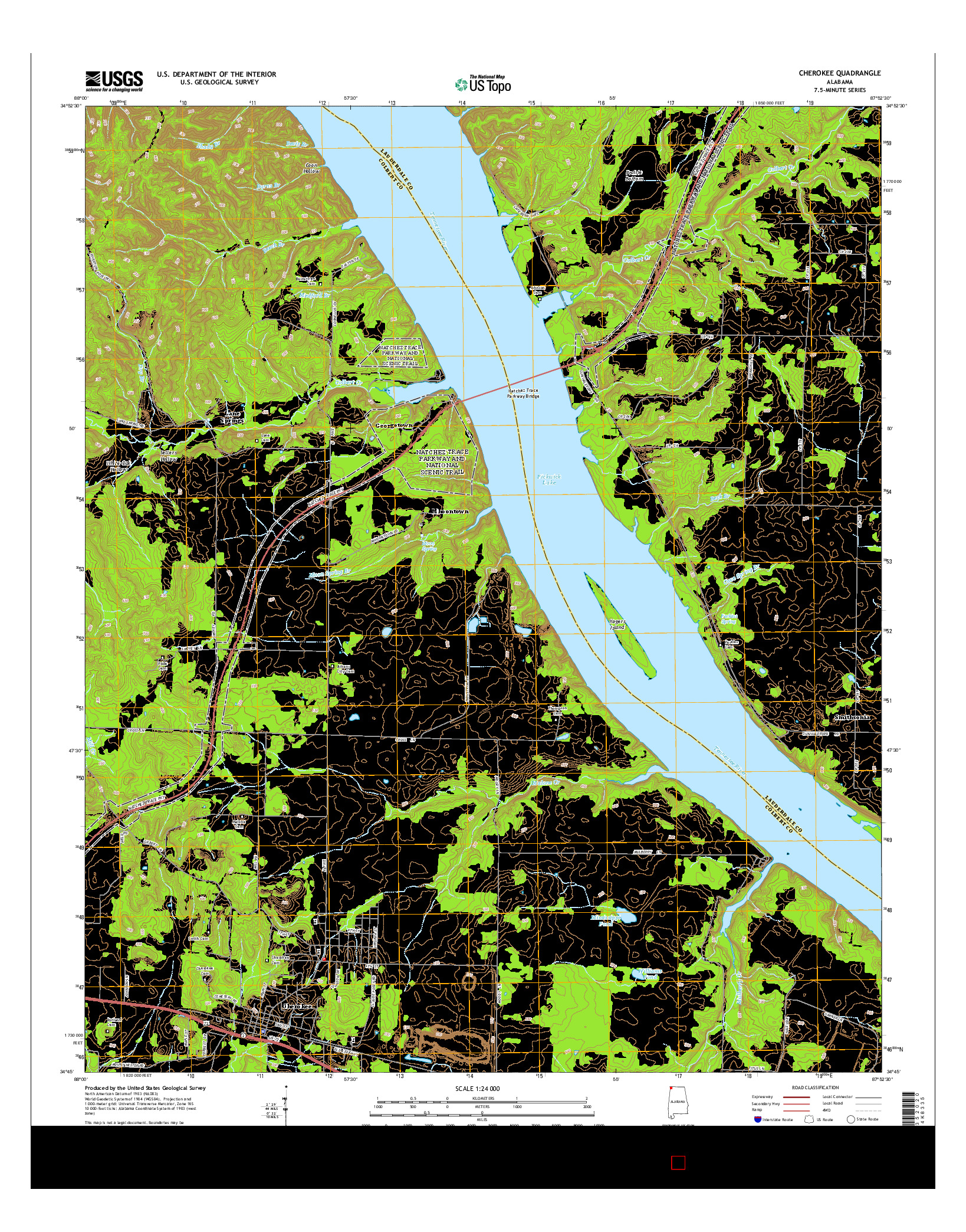 USGS US TOPO 7.5-MINUTE MAP FOR CHEROKEE, AL 2014